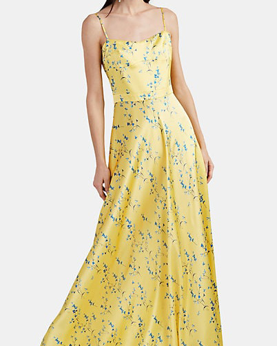 Maison di Prima Floral Silk Satin Maxi Dress