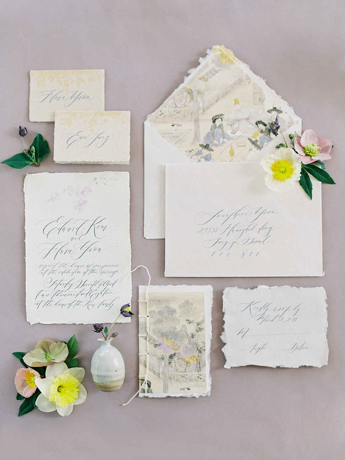 Asian tapestry-inspired parchment invites