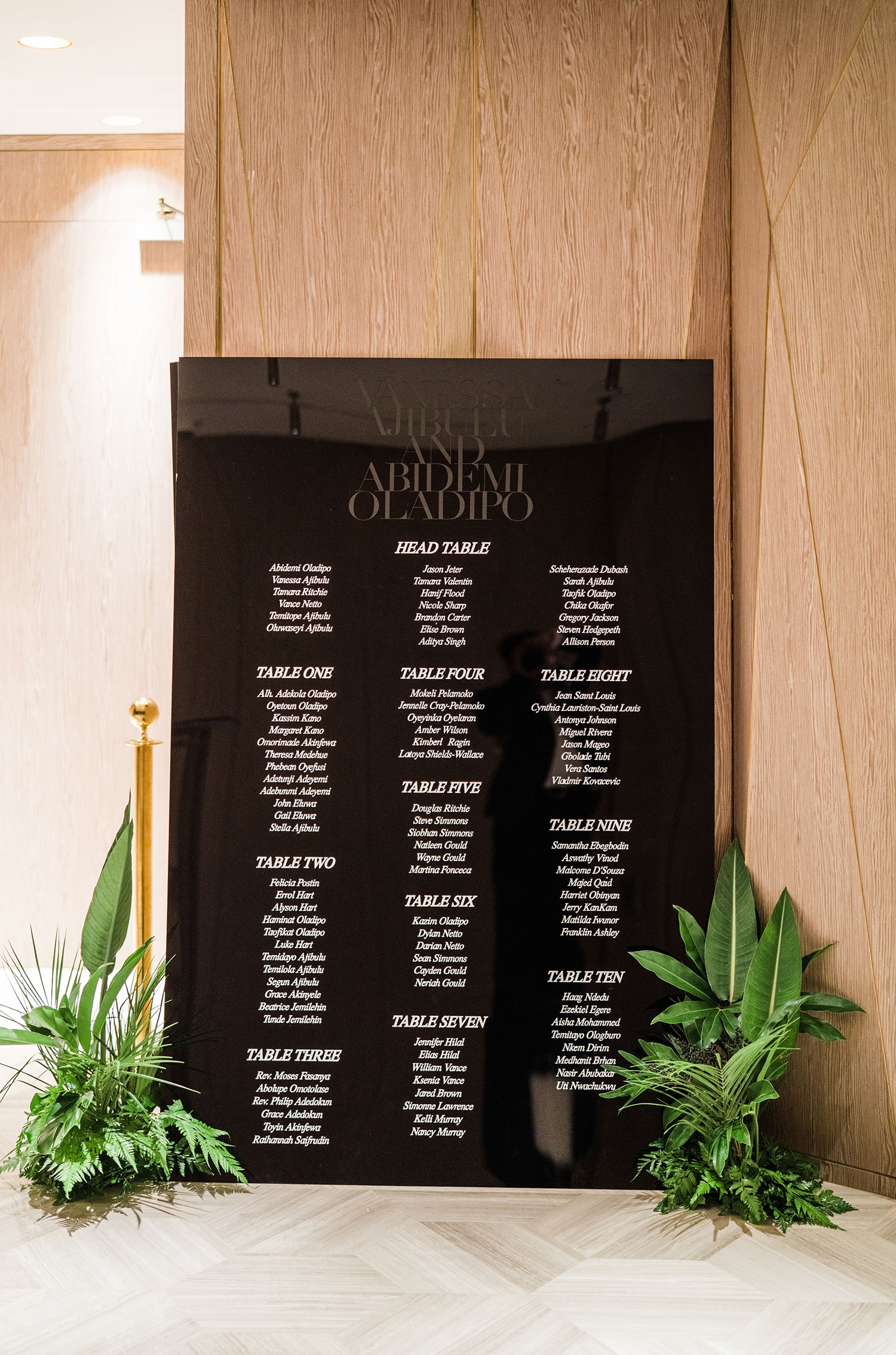 vanessa abidemi wedding seating chart and plants