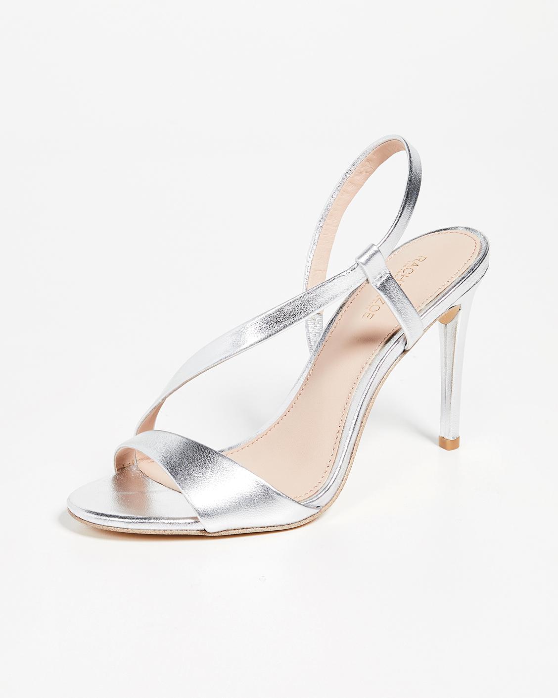 asymmetrical silver sandals bridesmaid shoes