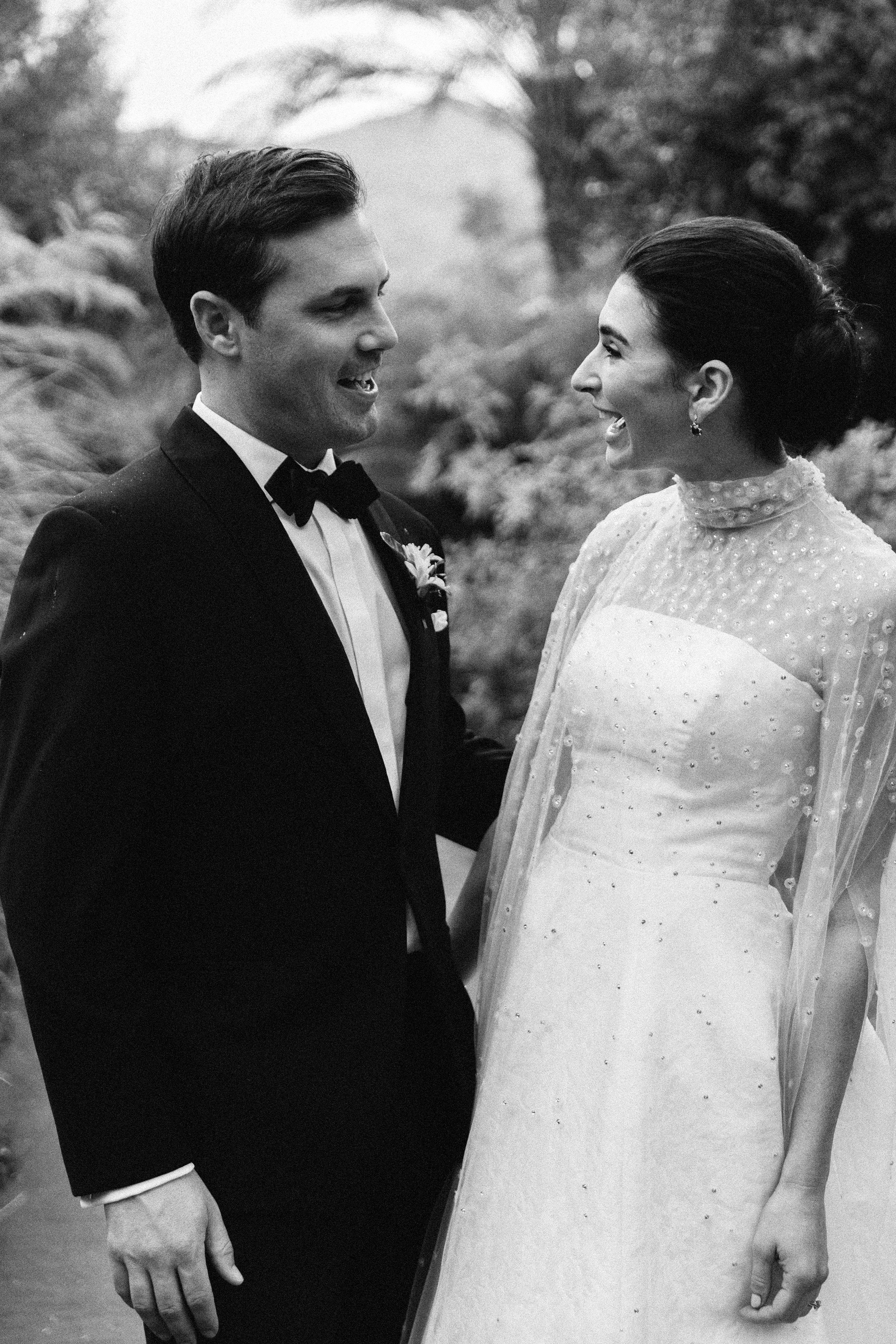 mia patrick wedding couple smiling facing each other