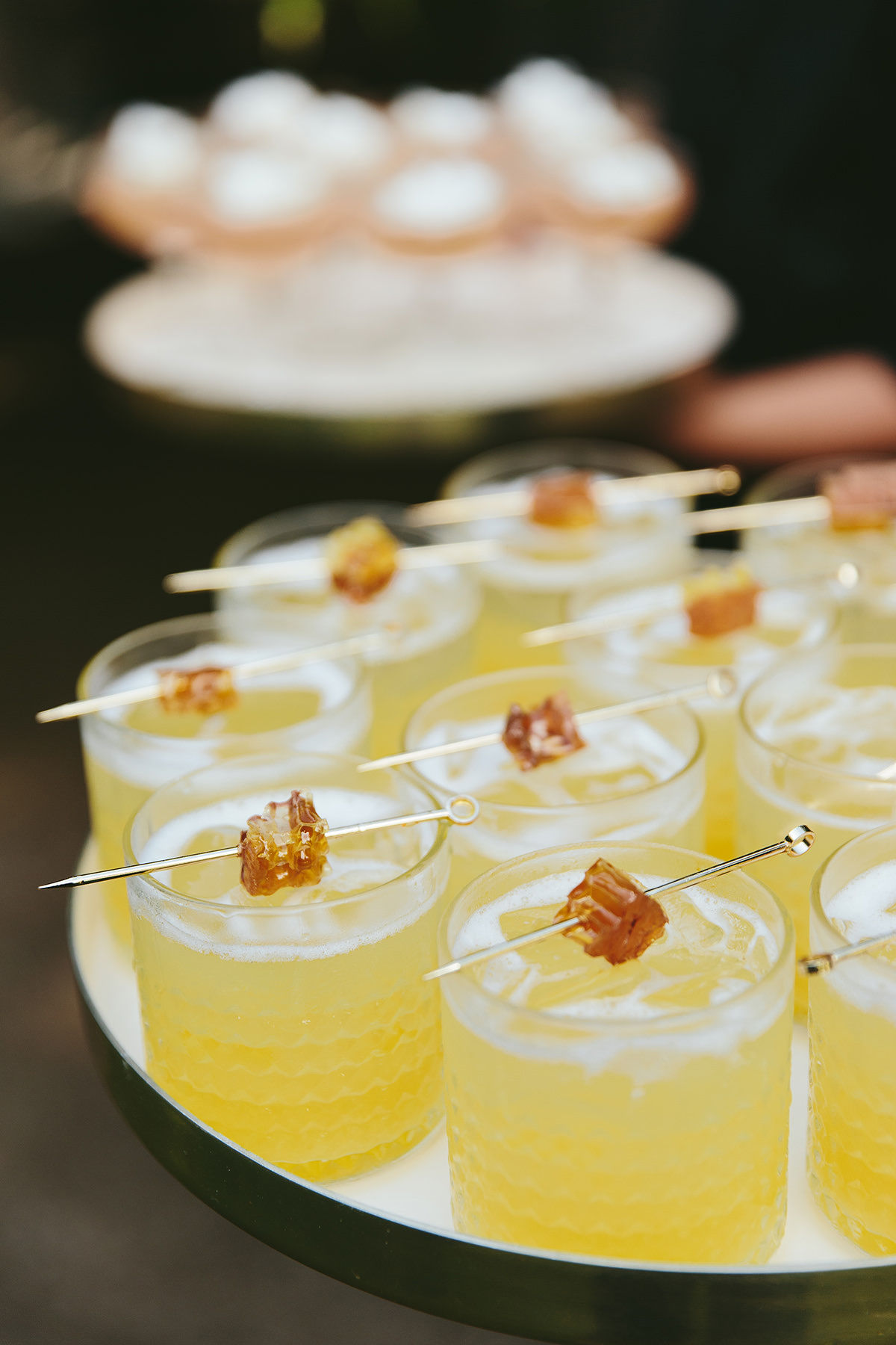 sarah daniel wedding tray of cocktails