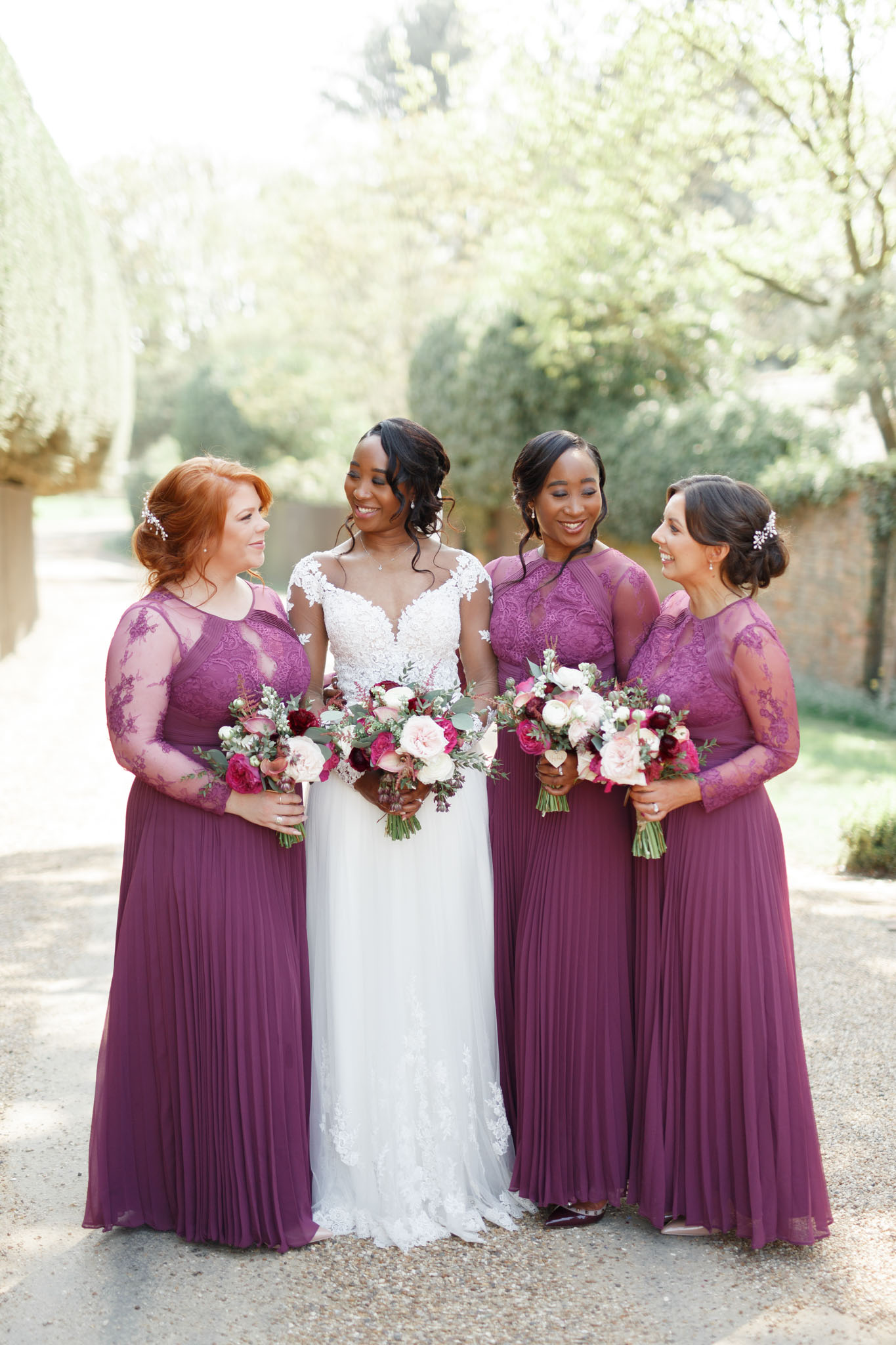 ryan thomas wedding bridesmaids in purple