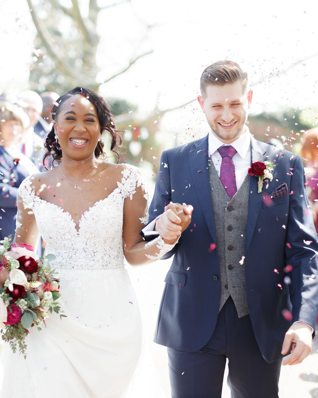 ryan thomas wedding recessional bride and groom confetti