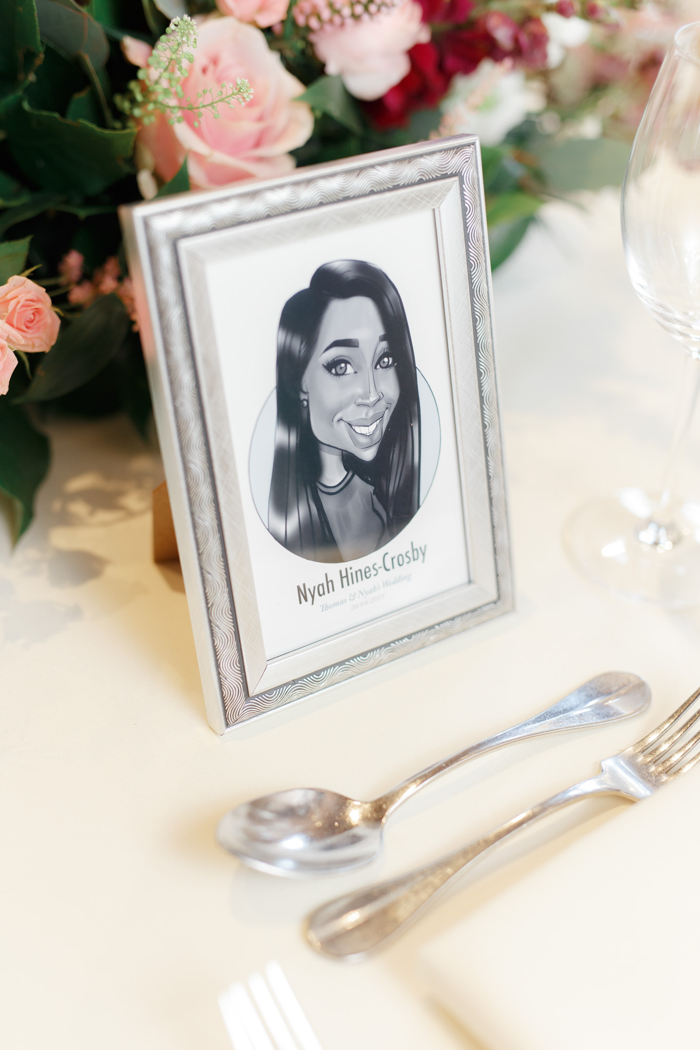 ryan thomas wedding place card caricature
