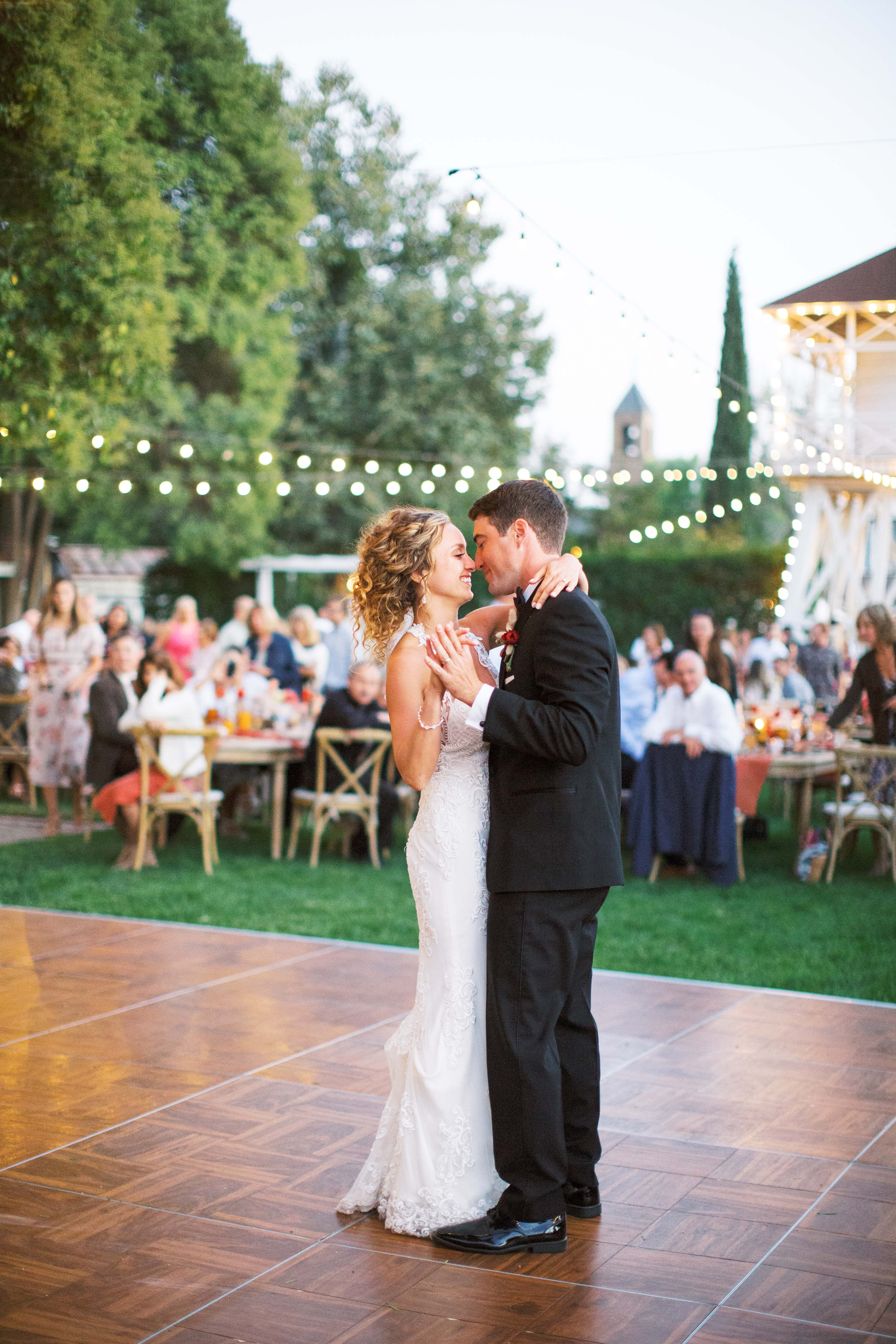 bride groom first dance outdoor reception
