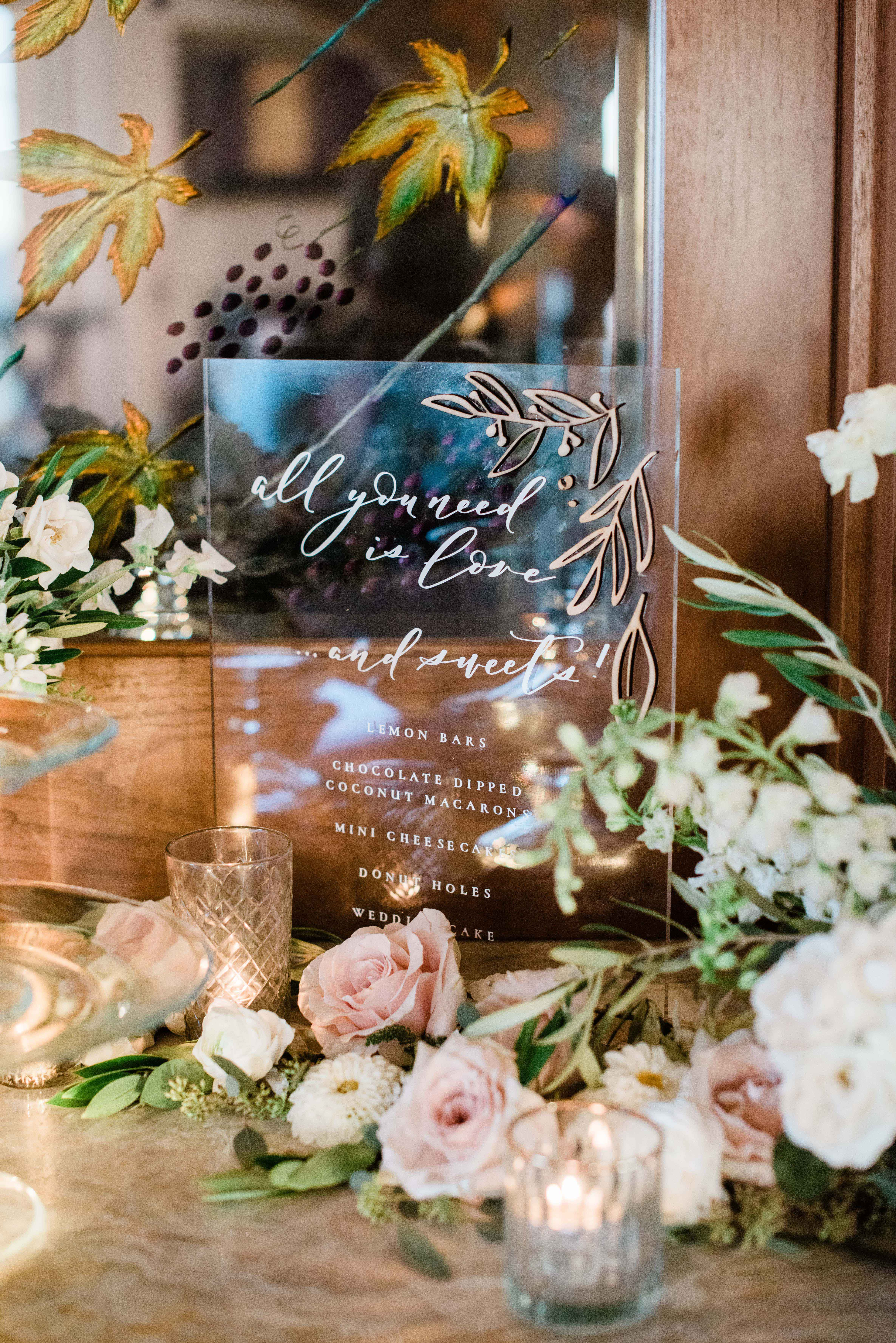 dessert menu ideas Lucite see-through sign