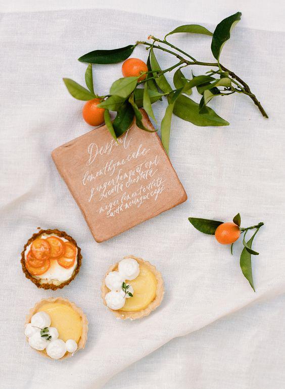 dessert menu ideas calligraphed terra-cotta