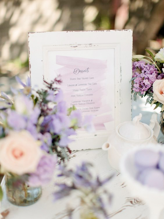 dessert menu ideas watercolor lavender display