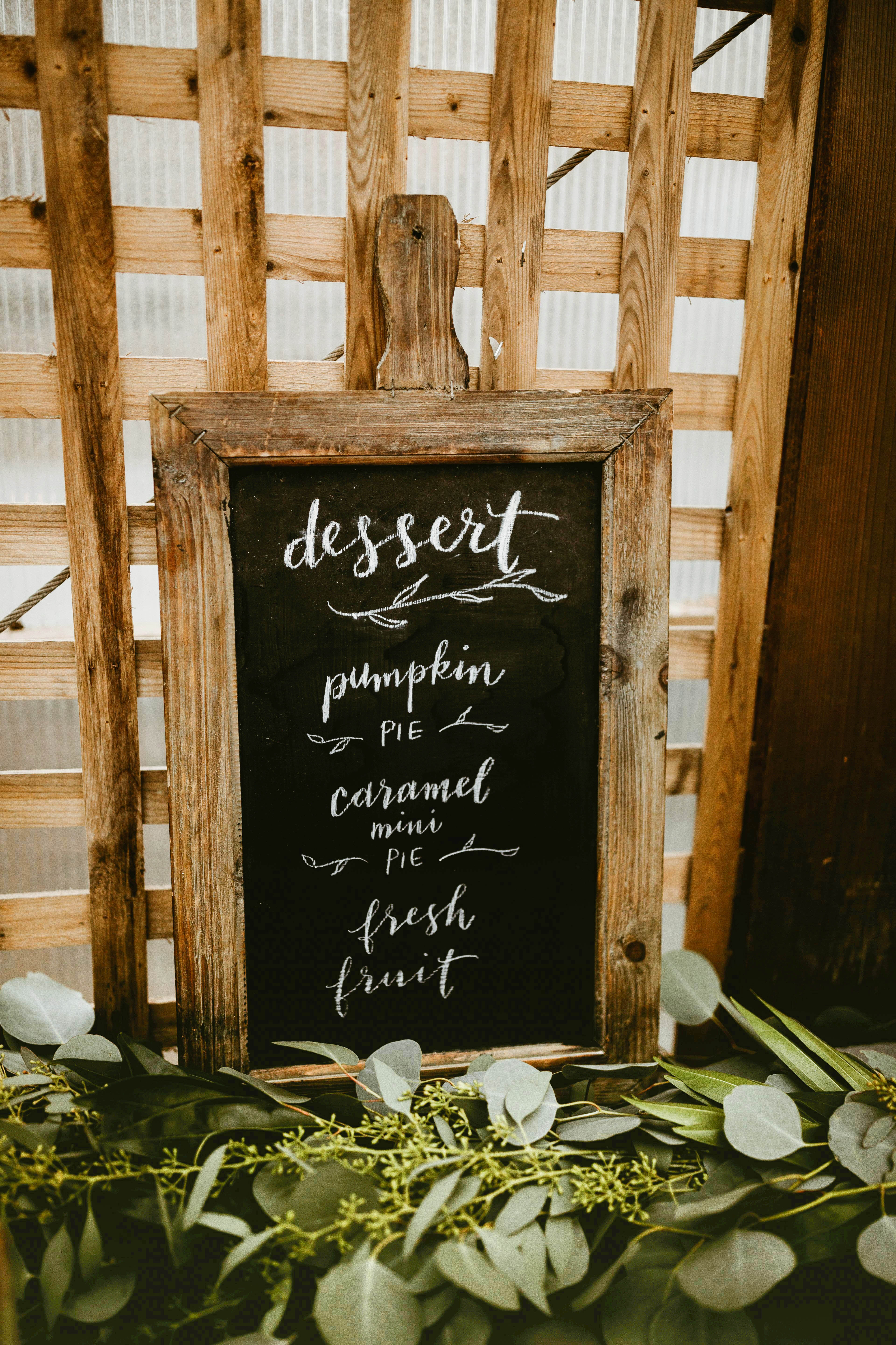 dessert menu ideas chalkboard sign greenery sketches