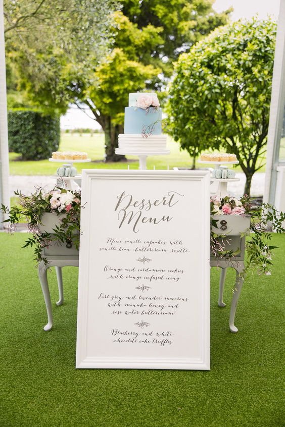 dessert menu ideas oversized sign focal point