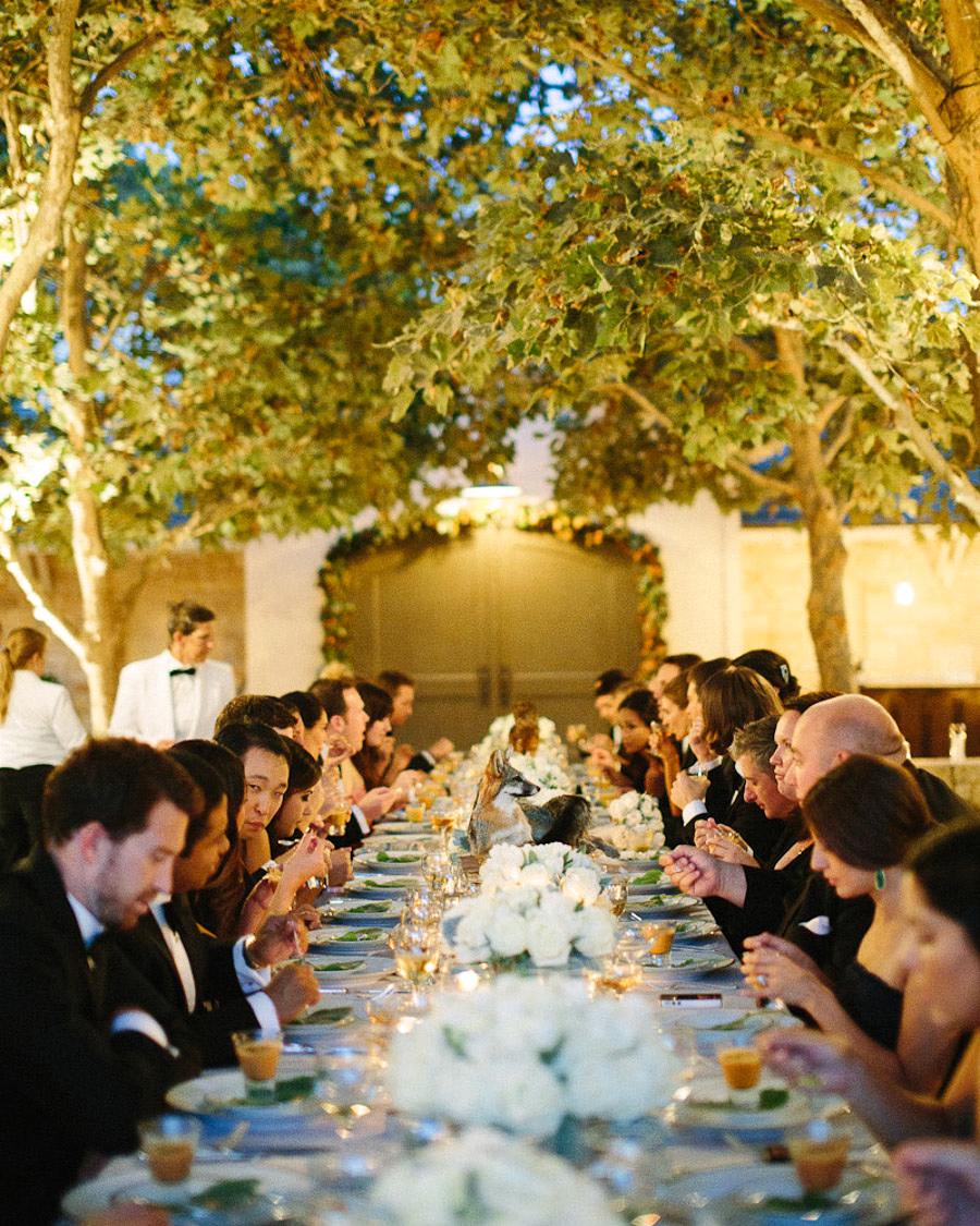 night wedding idea photos with grain of reception table