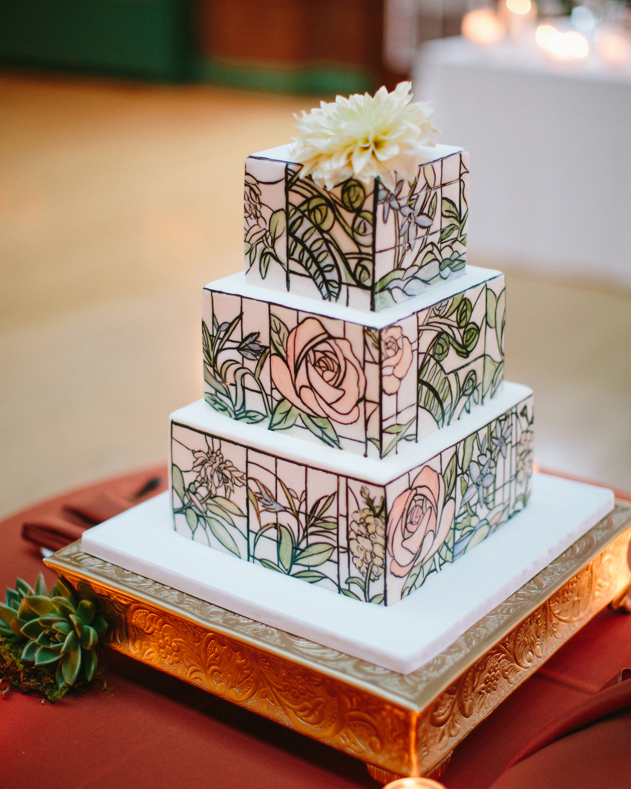 Stained Glass designed three tier wedding Cake