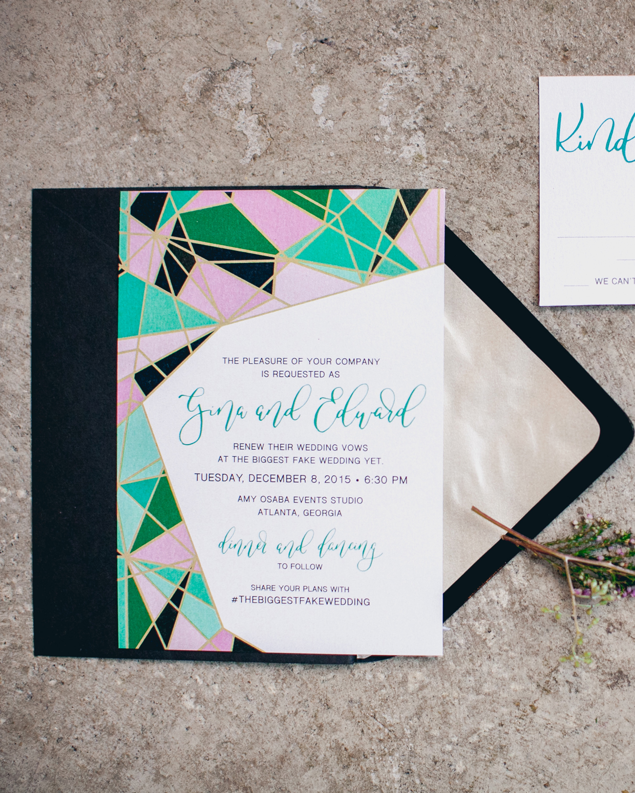 Geometric stained glass wedding Invitations