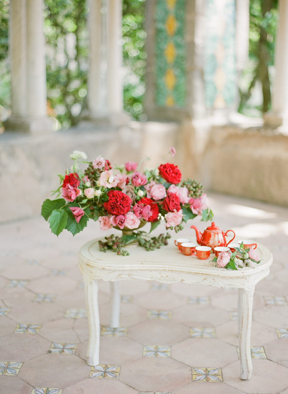 adrienne cameron wedding tea ceremony red flowers
