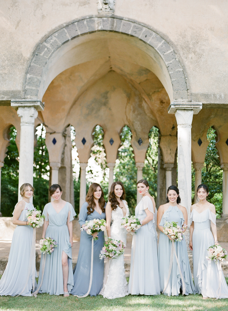 adrienne cameron wedding bridesmaids in blue