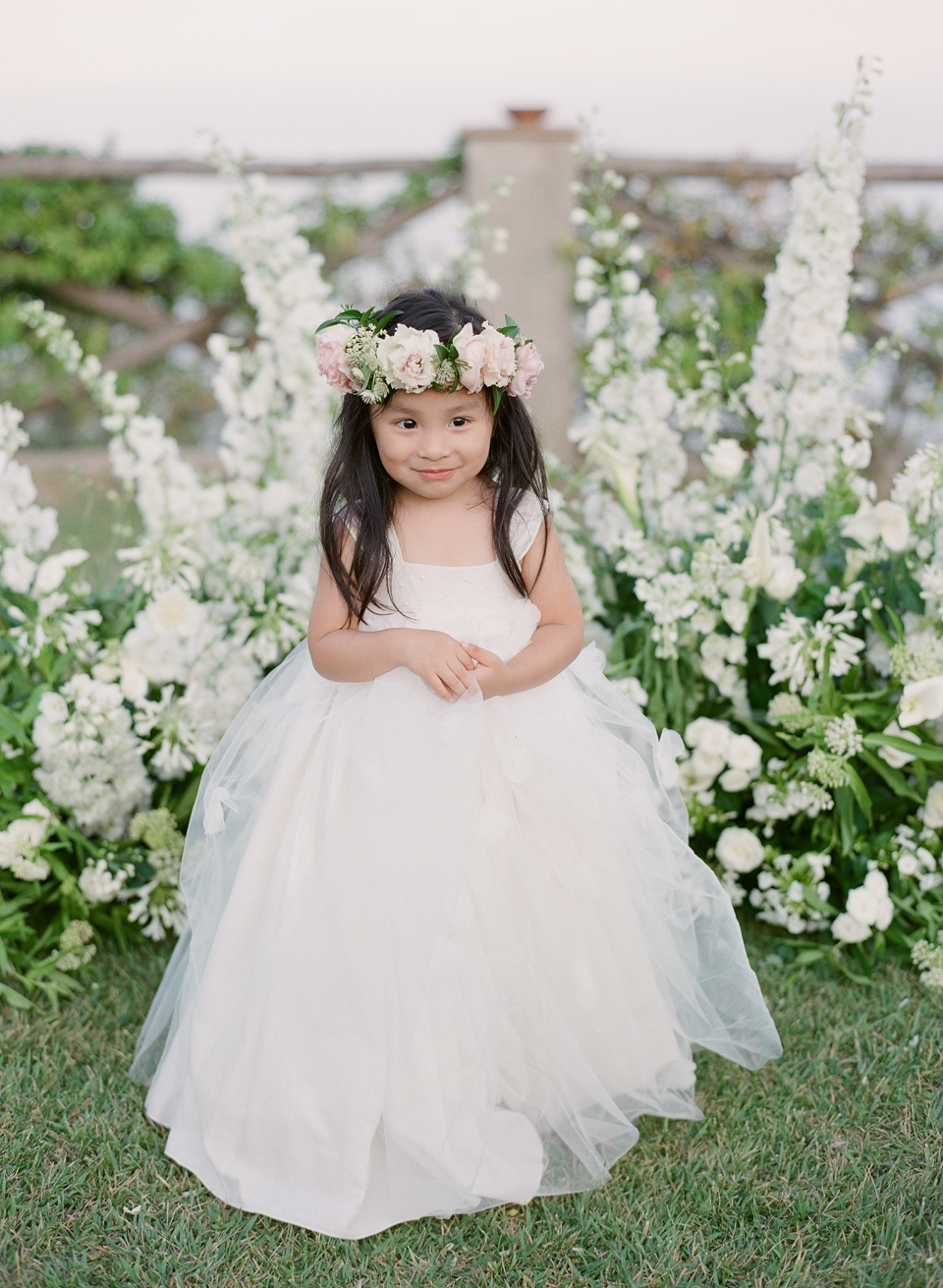 adrienne cameron wedding flower girl in white