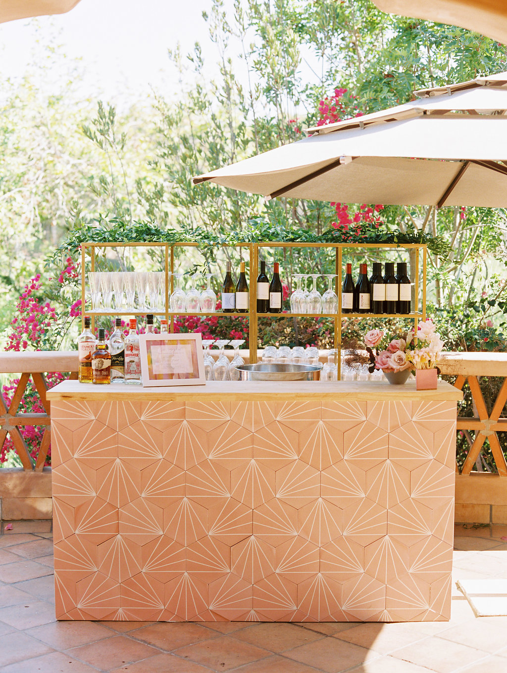 paige zack wedding bar with umbrella