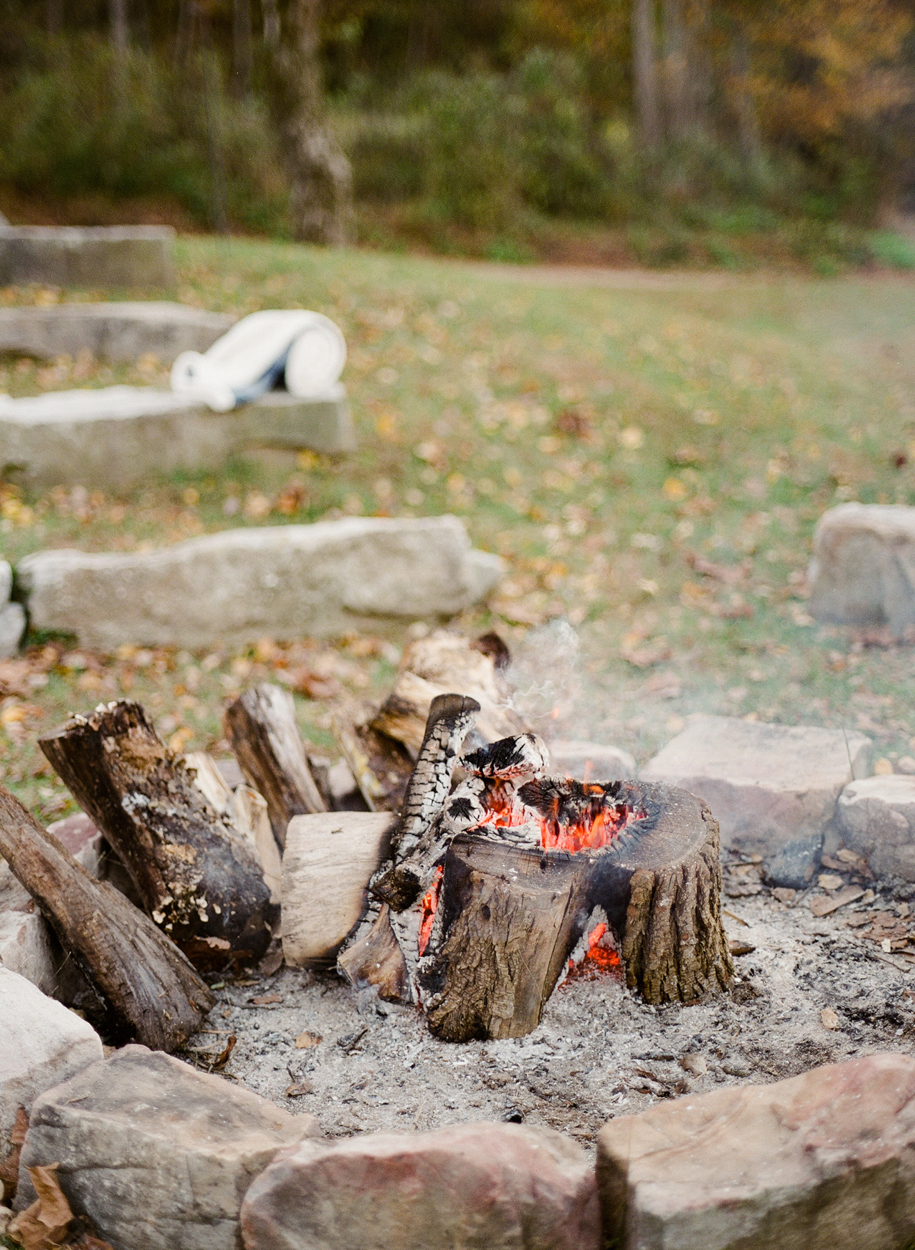 outdoor reception fire place