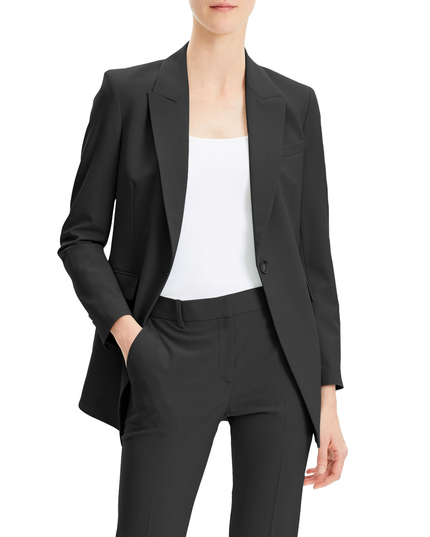 One-Button Good Wool Jacket Skinny-Leg Pants
