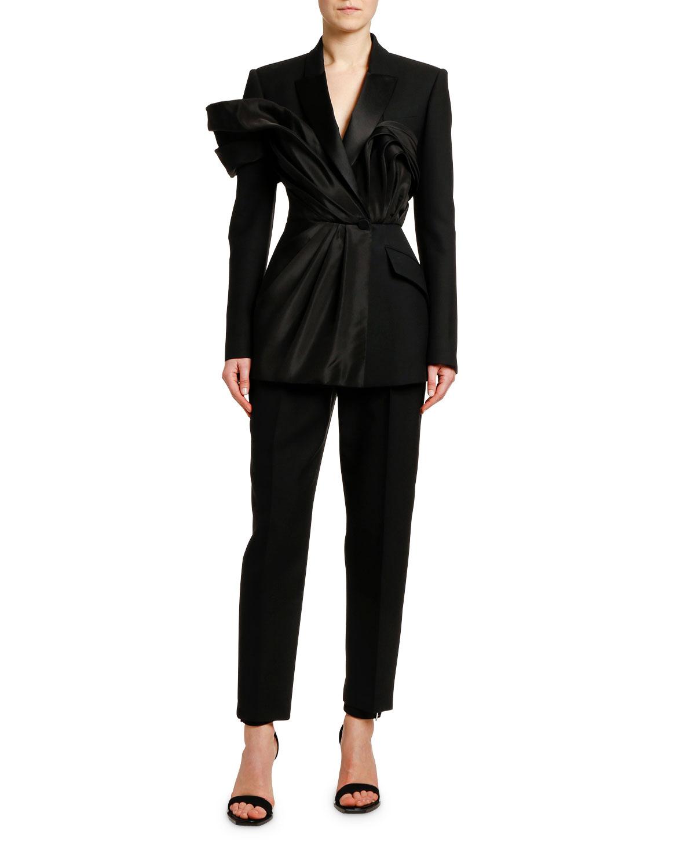 Silk Ruffled Evening Blazer Suit