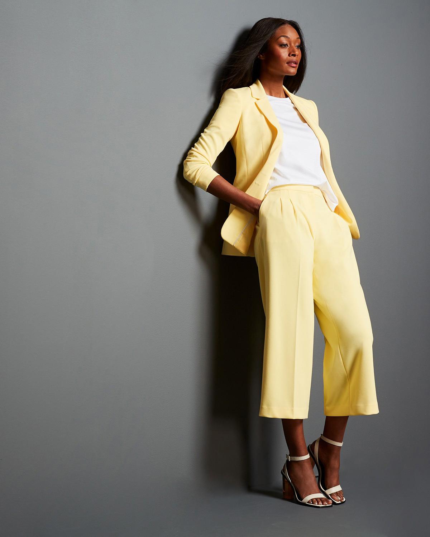 Yellow Studded Blazer Pleat-Detail Capris Suit