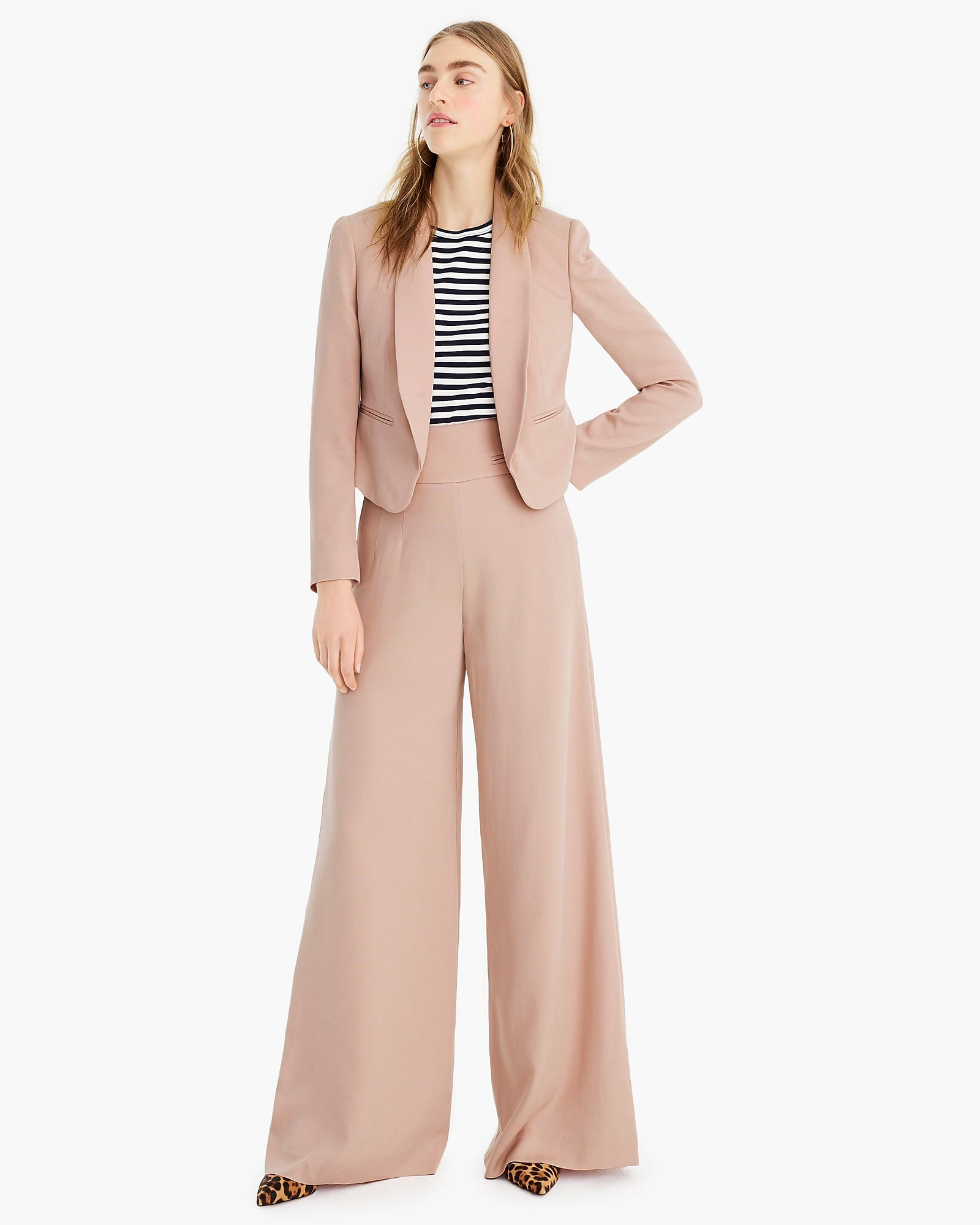 Shawl Collar Cropped Blazer Full-Length High-Rise Pants