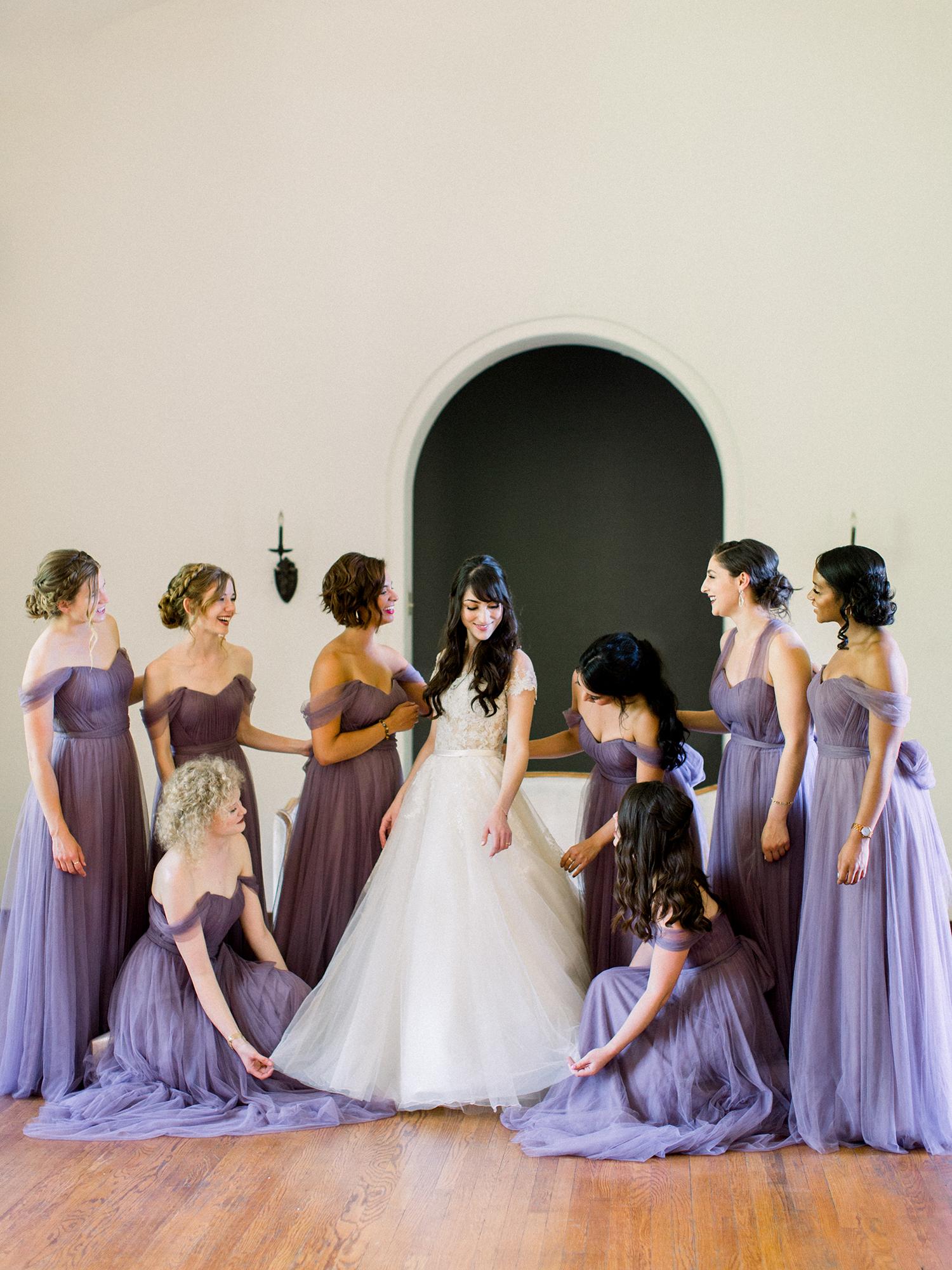 molly josh wedding bridesmaids in purple dresses