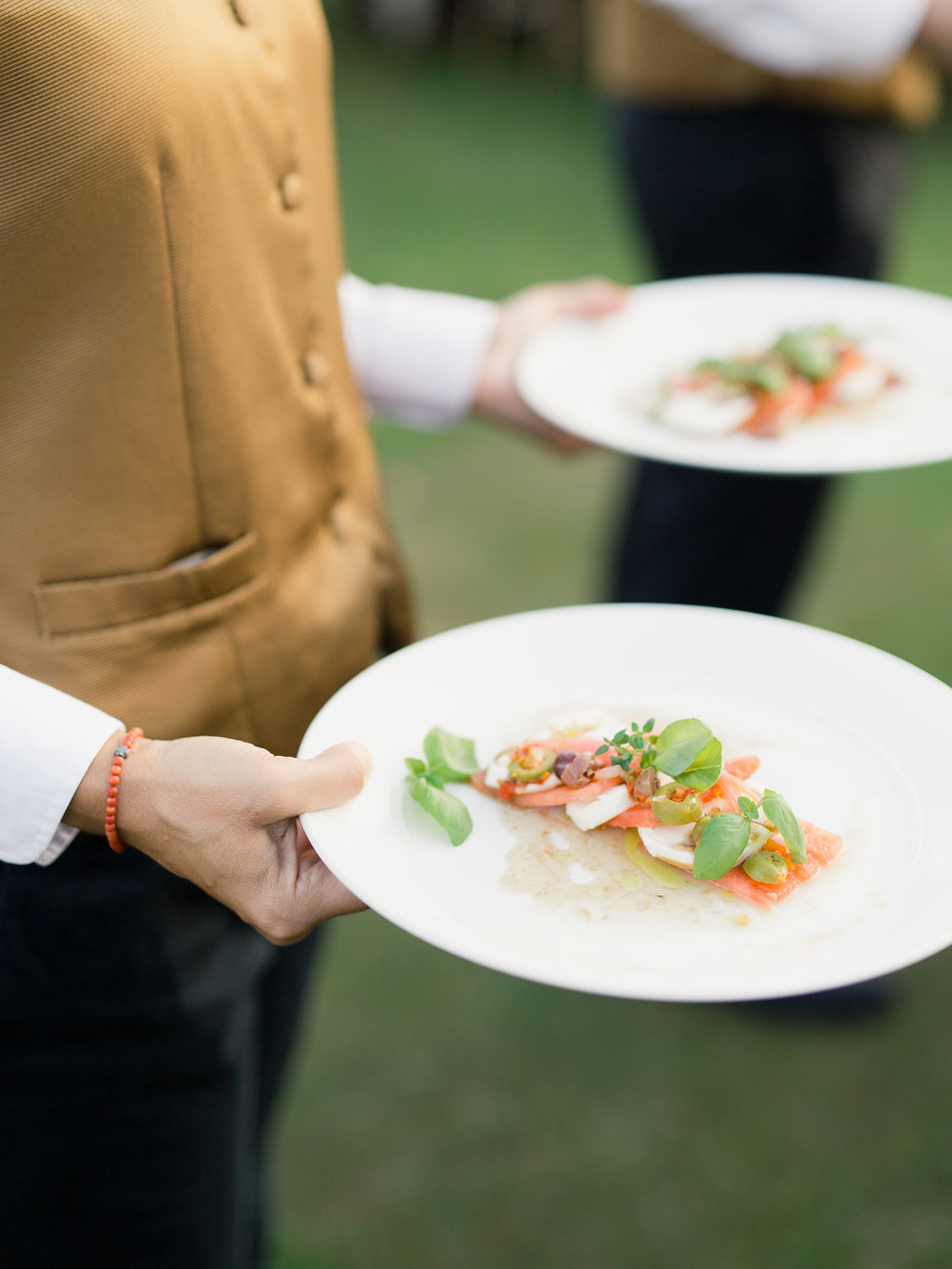 paige zack wedding food on white places