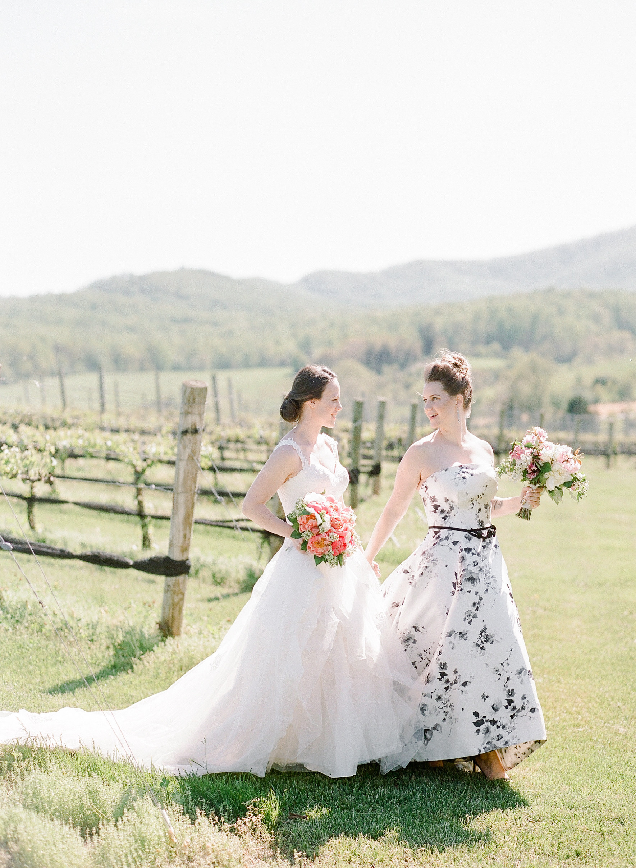 mechelle julia wedding couple brides holding hands