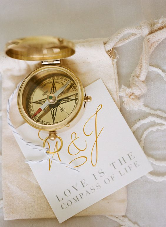 golden compass setting on paper with motto