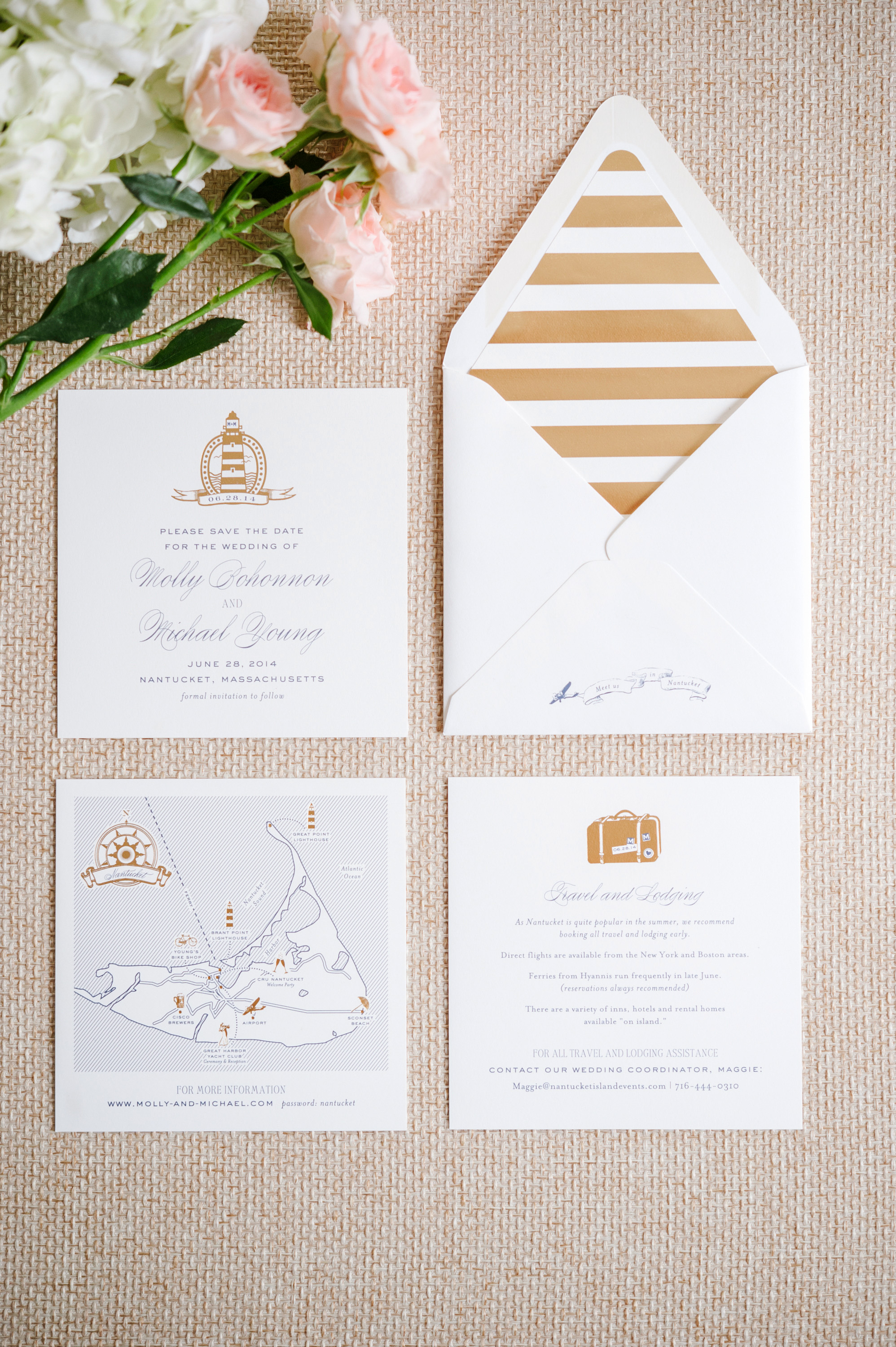 nautical invitation set with navy blue and gold elements