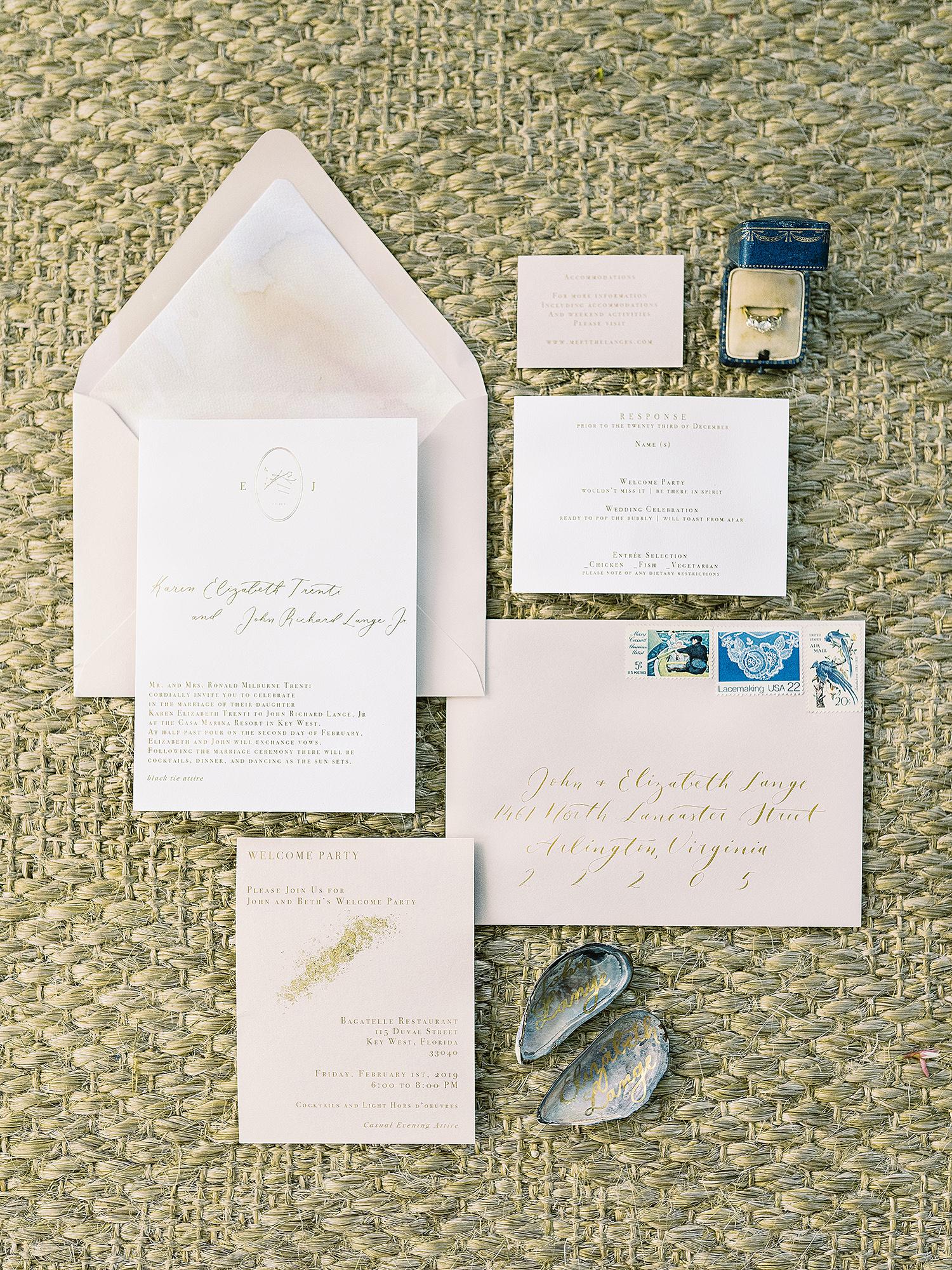 beth john wedding pastel invitations sea shell and ring