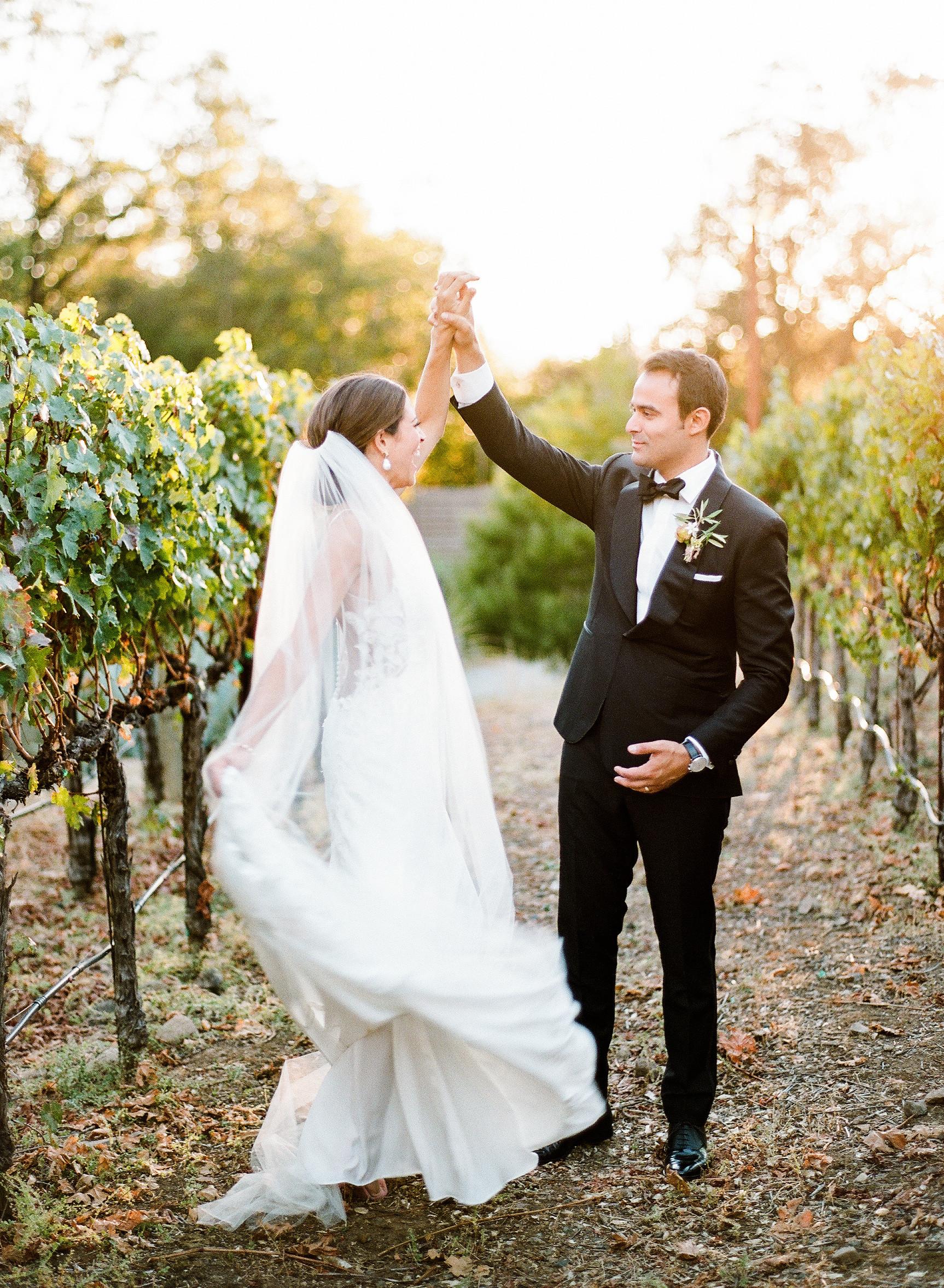 cristina chris wedding couple in vineyard