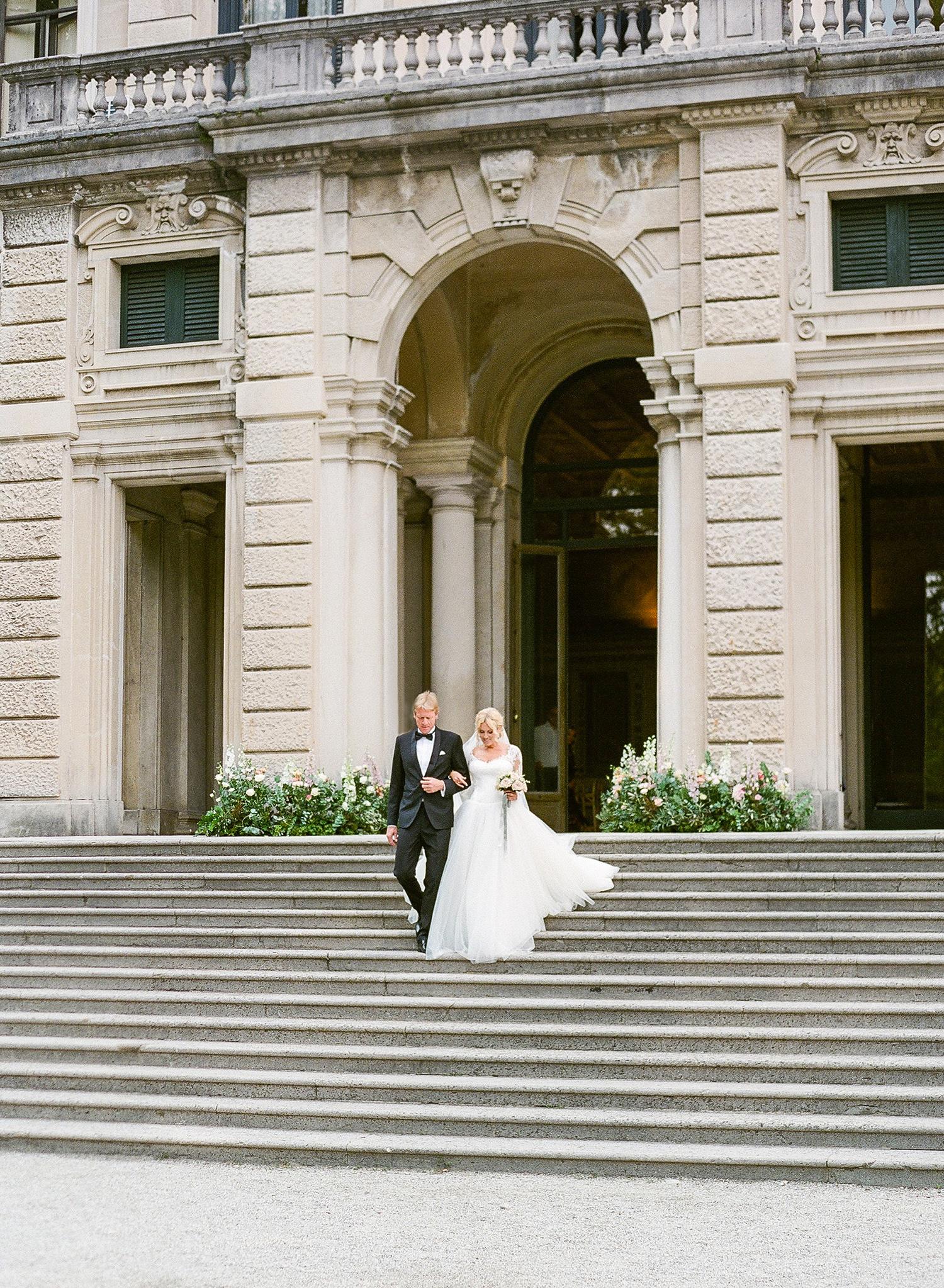 julia mauro wedding processional down steps