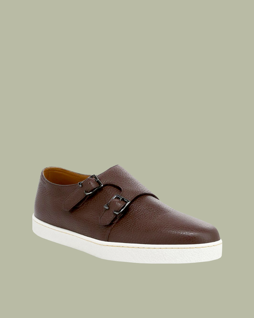 """John Lobb """"Holme"""" Double Buckle Grain Monk Strap Leather Sneakers"""