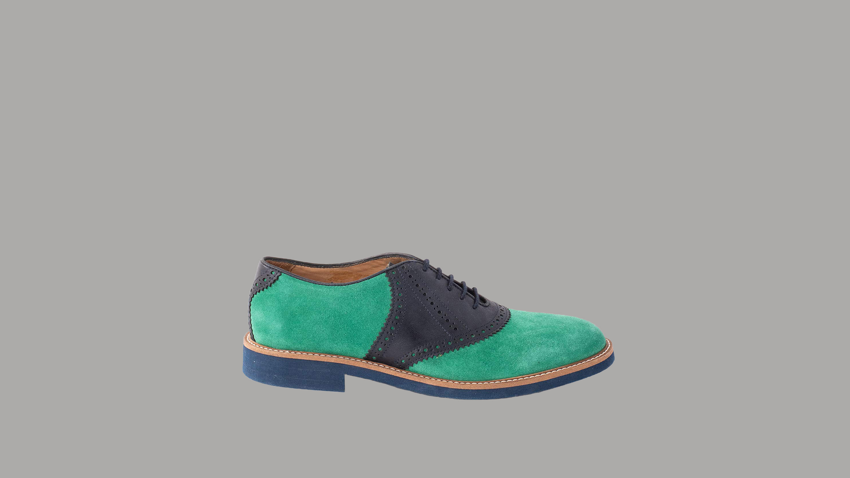 "Austen Heller ""Harrisons"" Kelly Green Suede and Navy Leather Shoes"