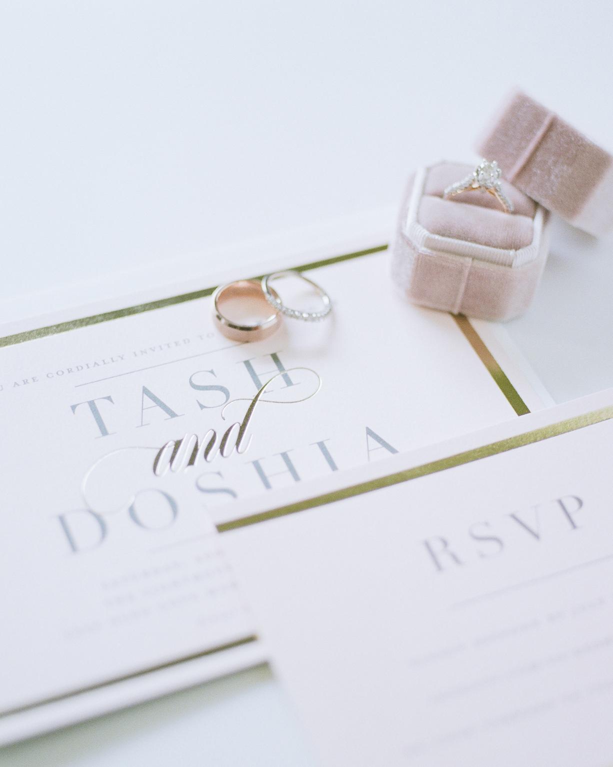 diamond wedding bands metallic accent invitation