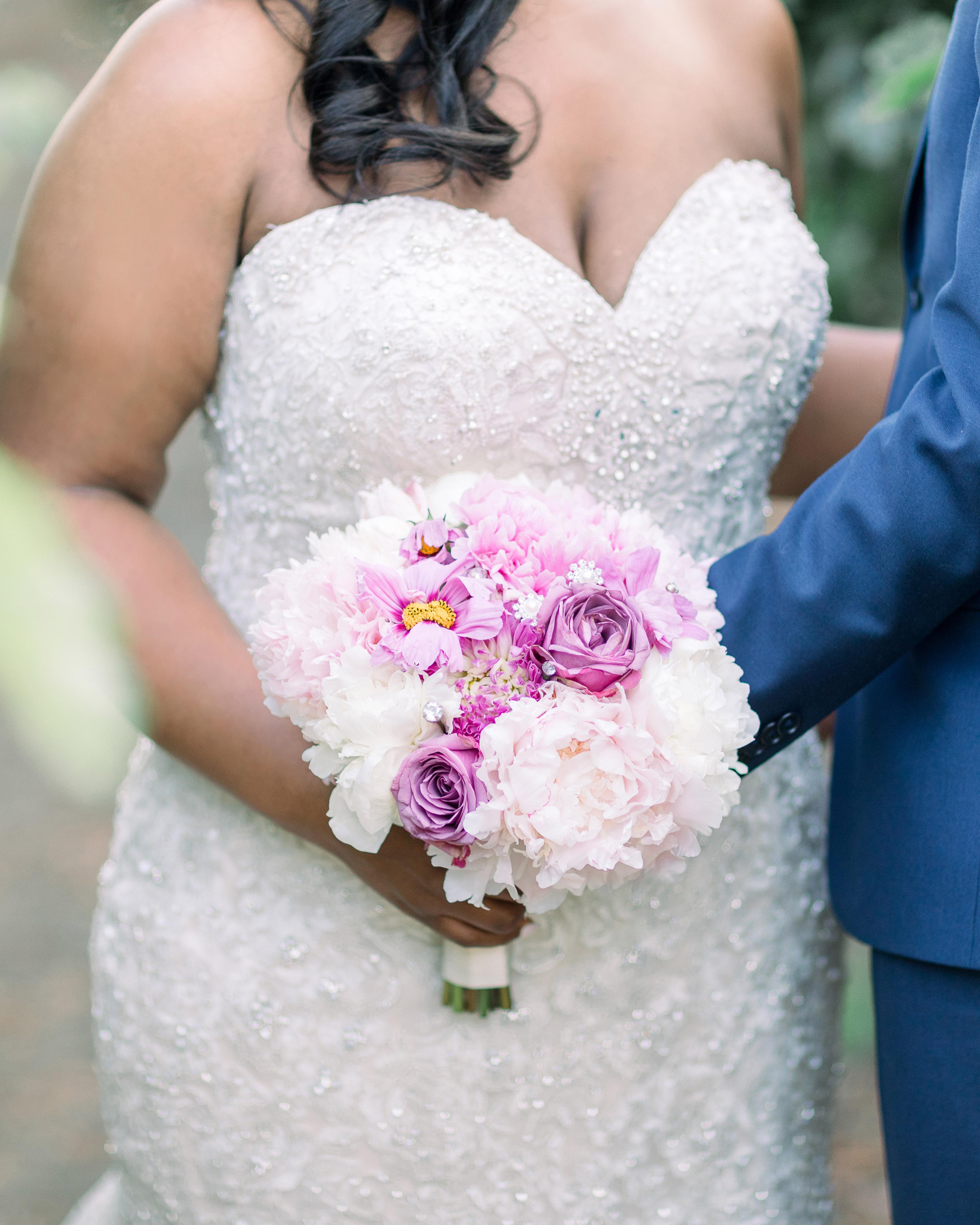 lush pink white flower wedding bouquet