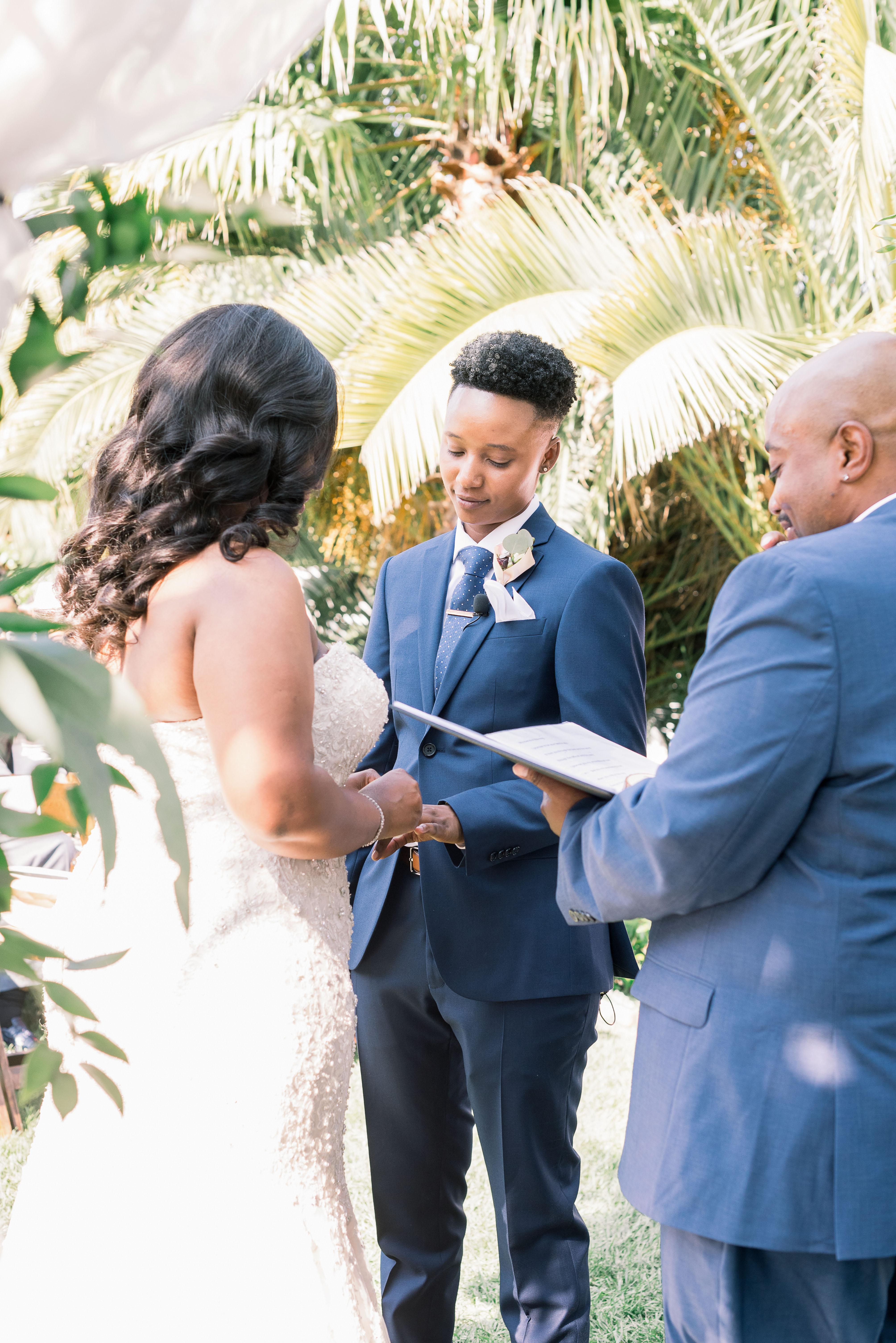 outdoor wedding reception vow ring exchange