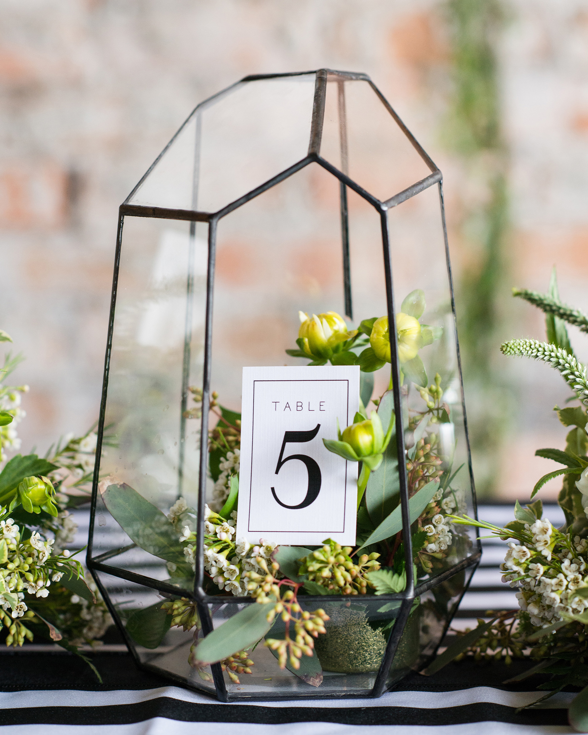 terrarium wedding ideas table numbers