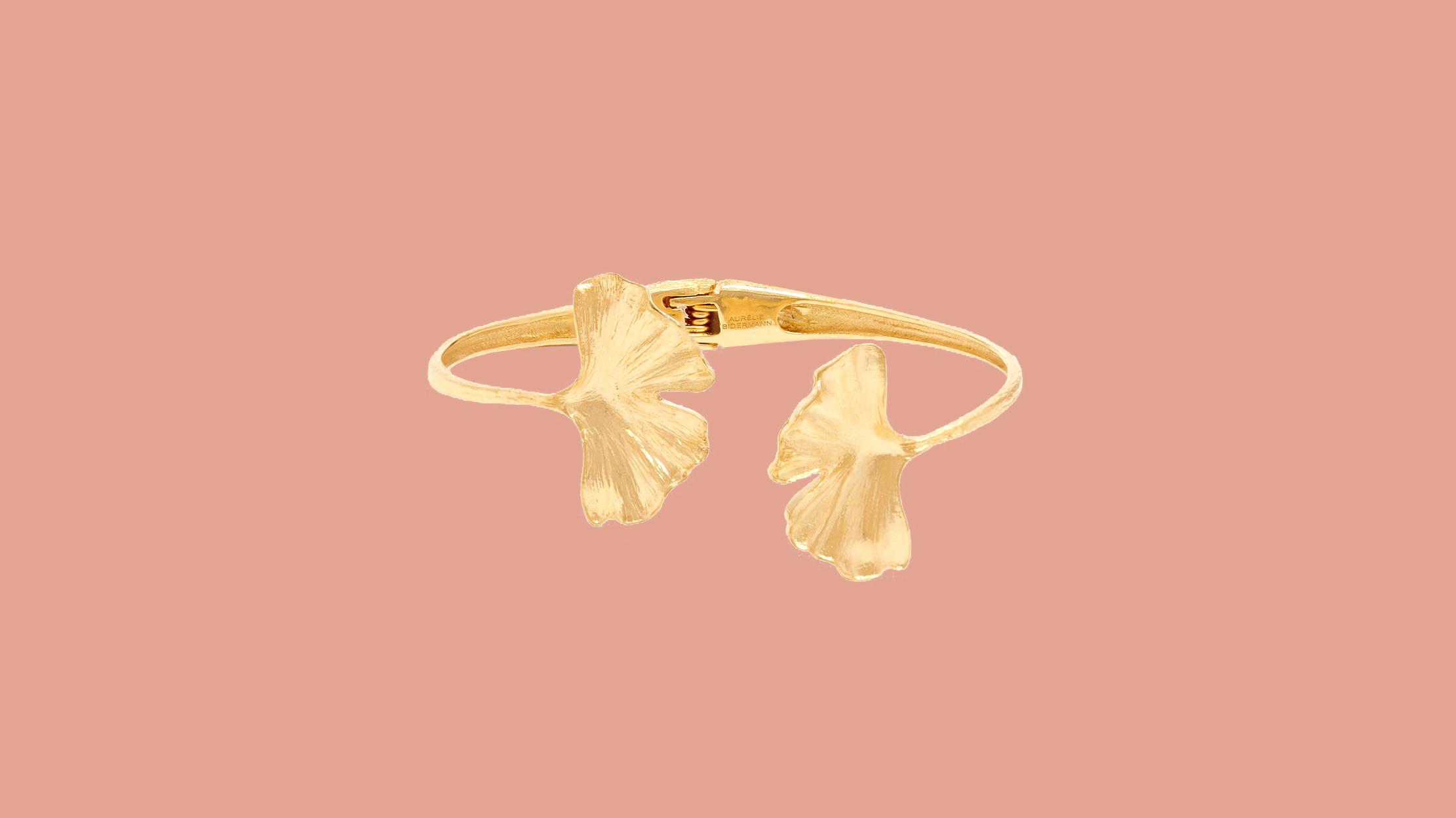 """Aurelie Bidermann """"Ginkgo"""" Leaf 18-karat Gold Bracelet"""