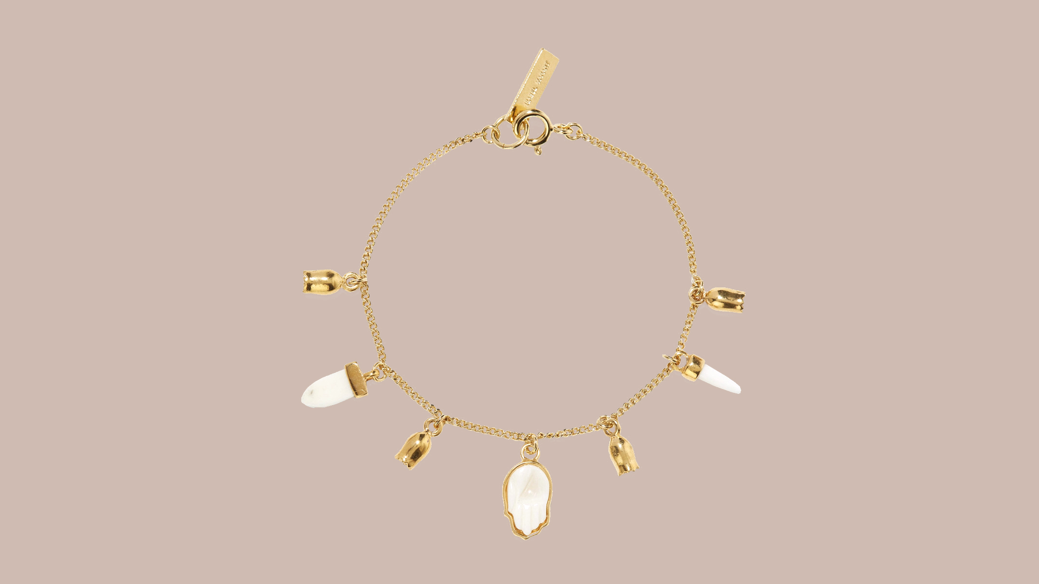 Isabel Marant Gold-Tone, Bone, and Enamel Bracelet