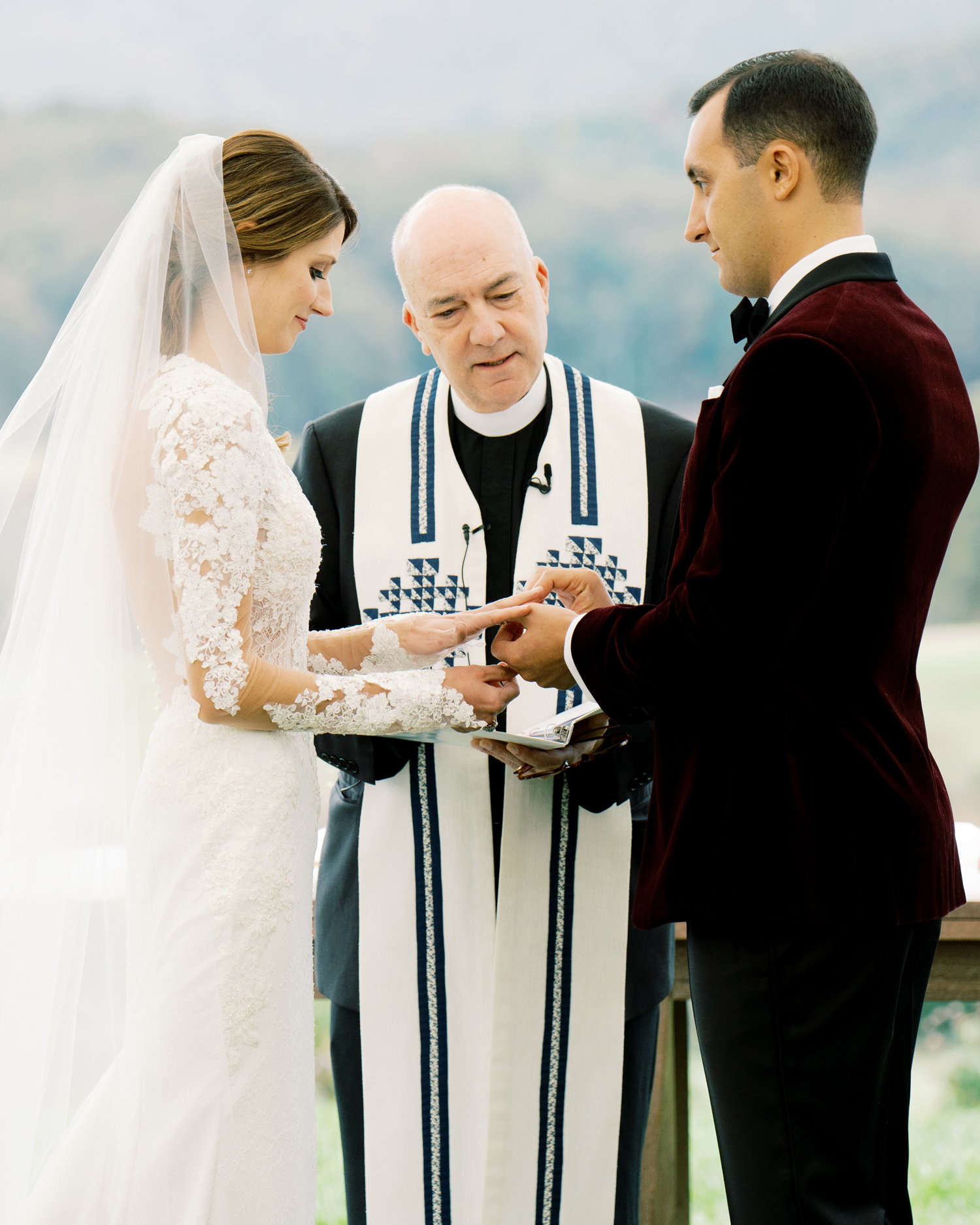 bride and groom sharing wedding vows