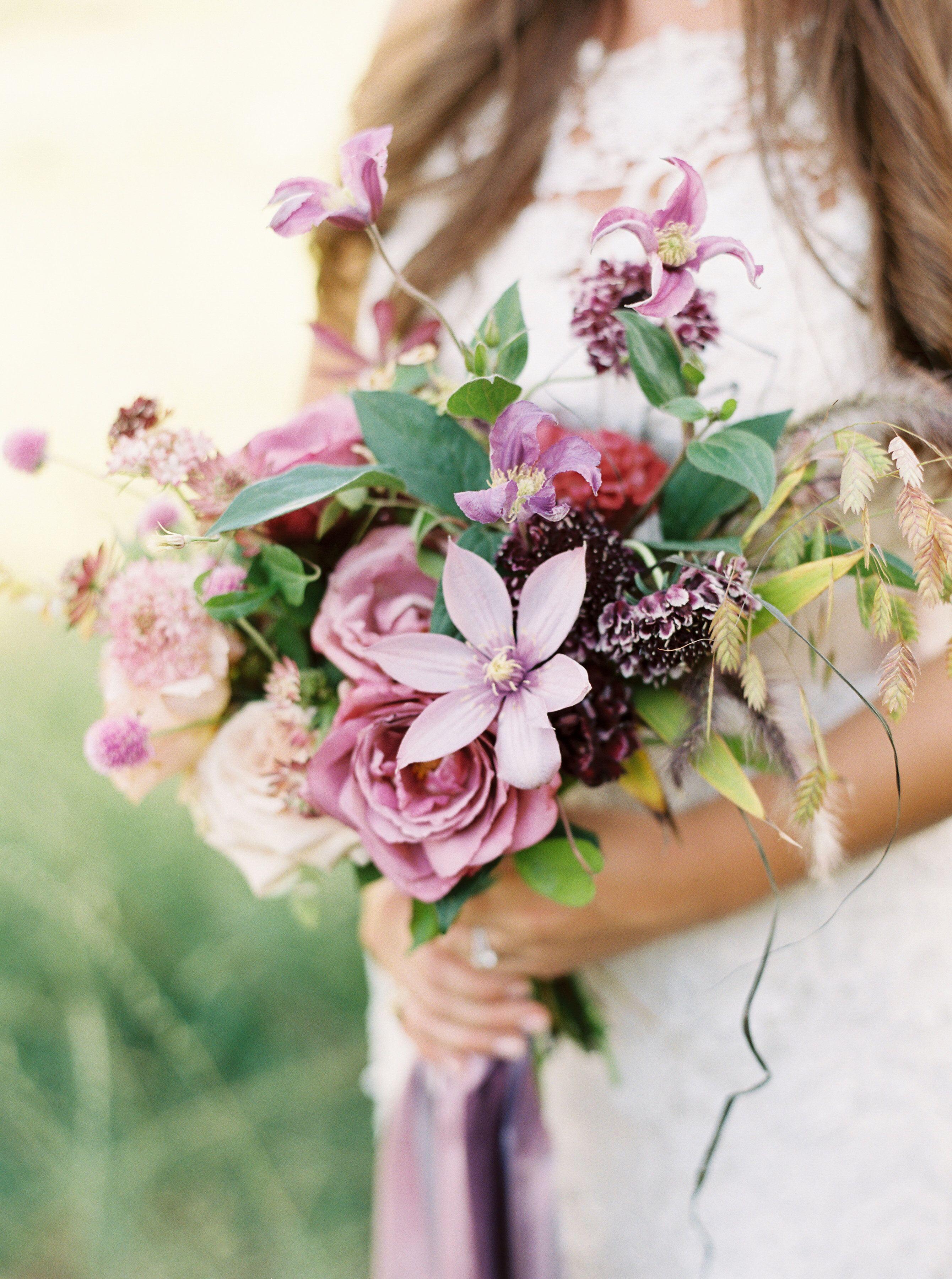 kelsey jacob wedding bouquet purple flowers