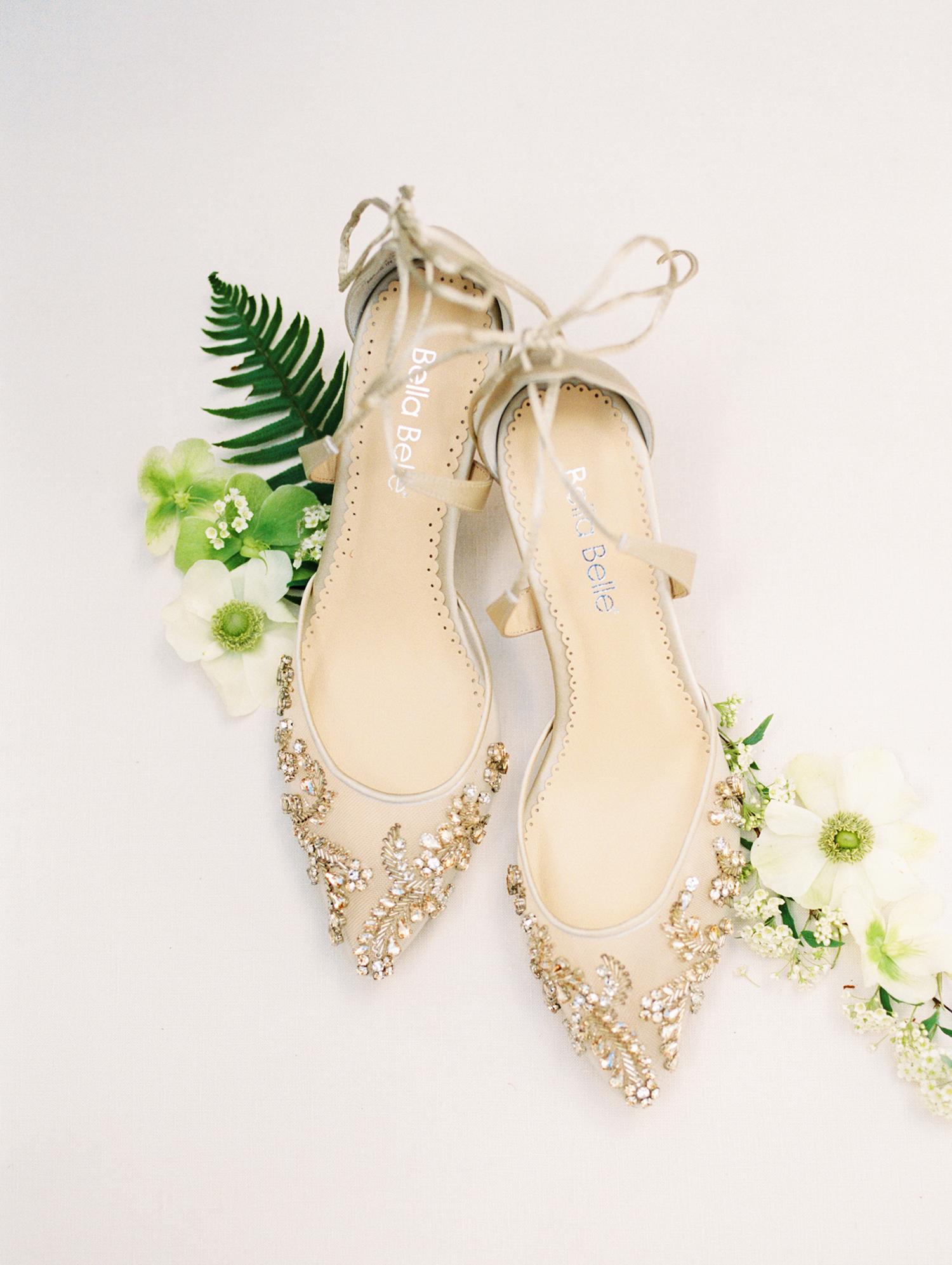 lauren aaron bride's gold wedding shoes