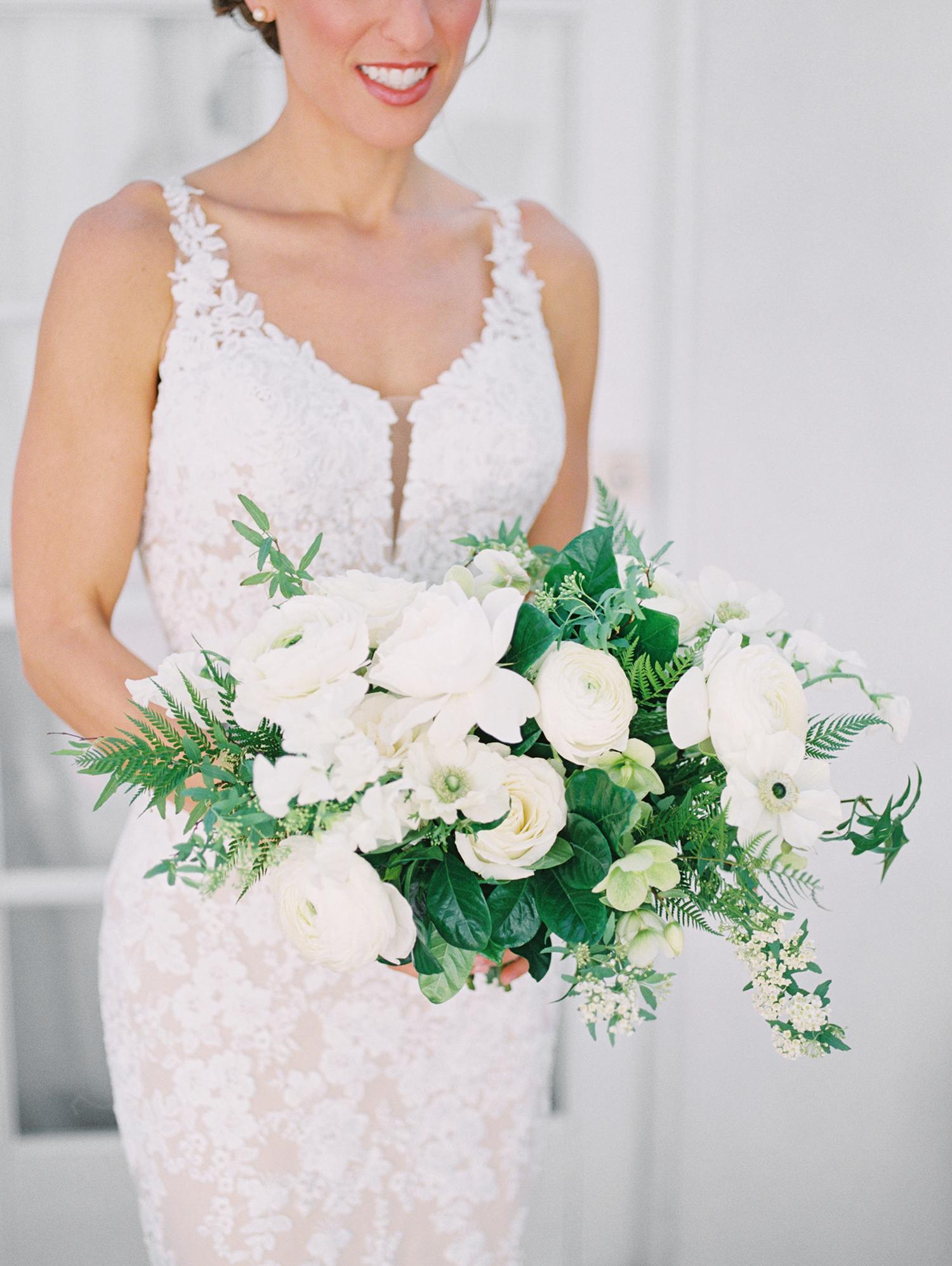 lauren aaron wedding bride's white bouquet