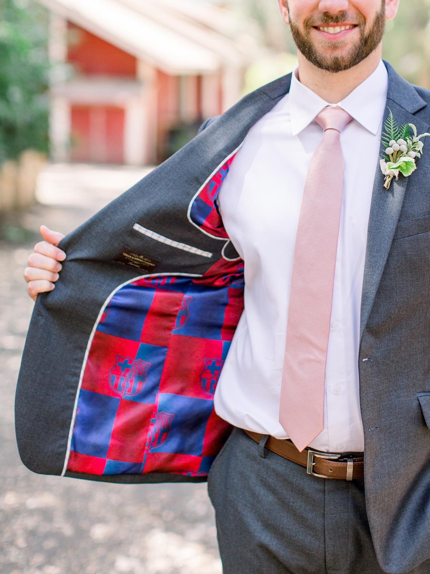 lauren aaron wedding groom fc barcelona suit