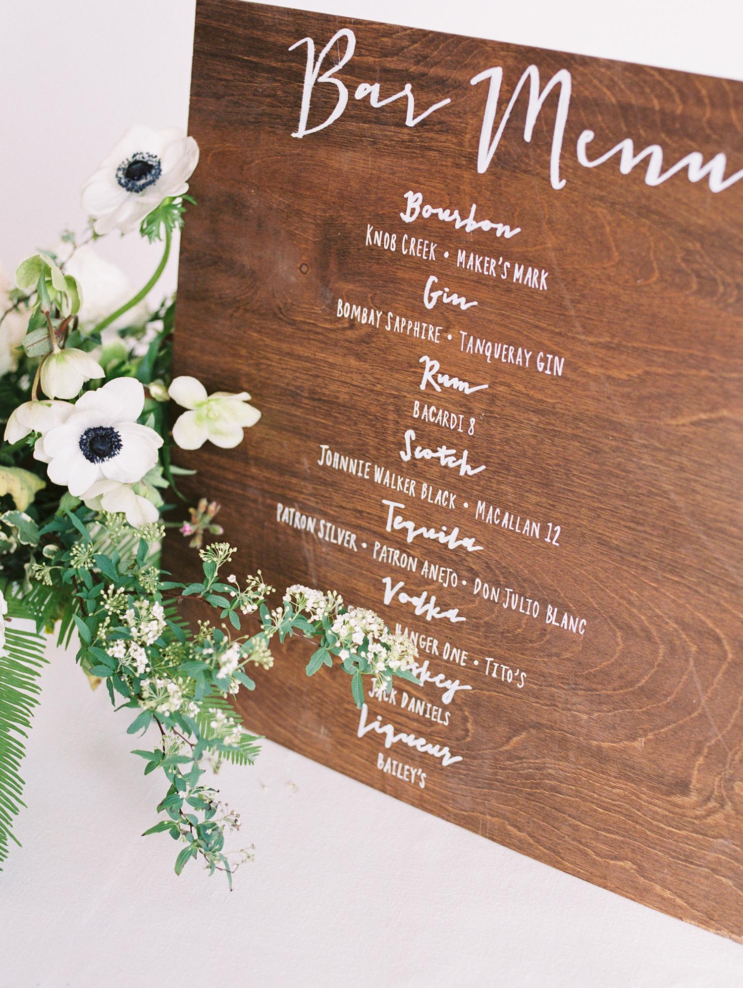lauren aaron wedding bar menu