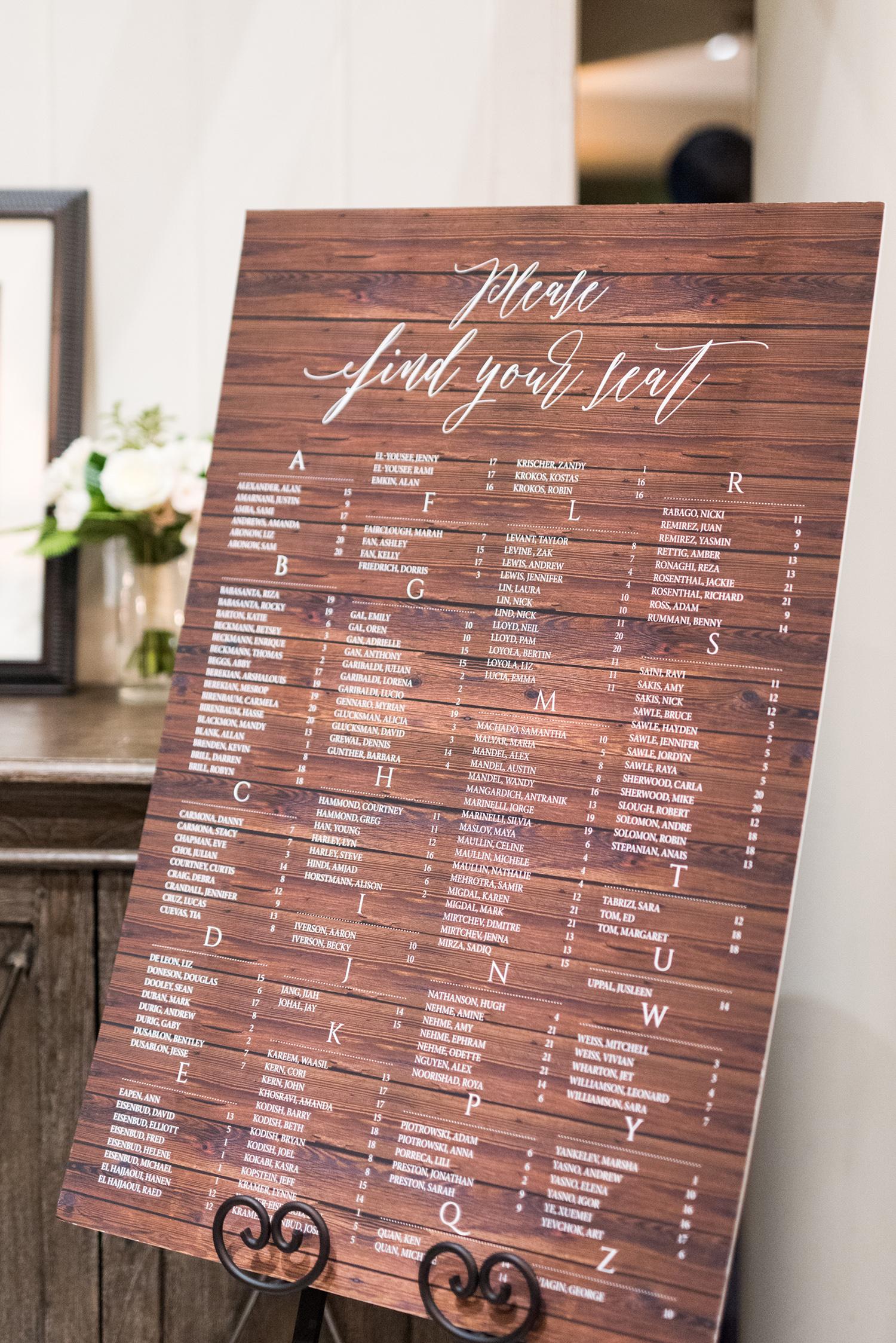 lauren aaron wedding seating chart